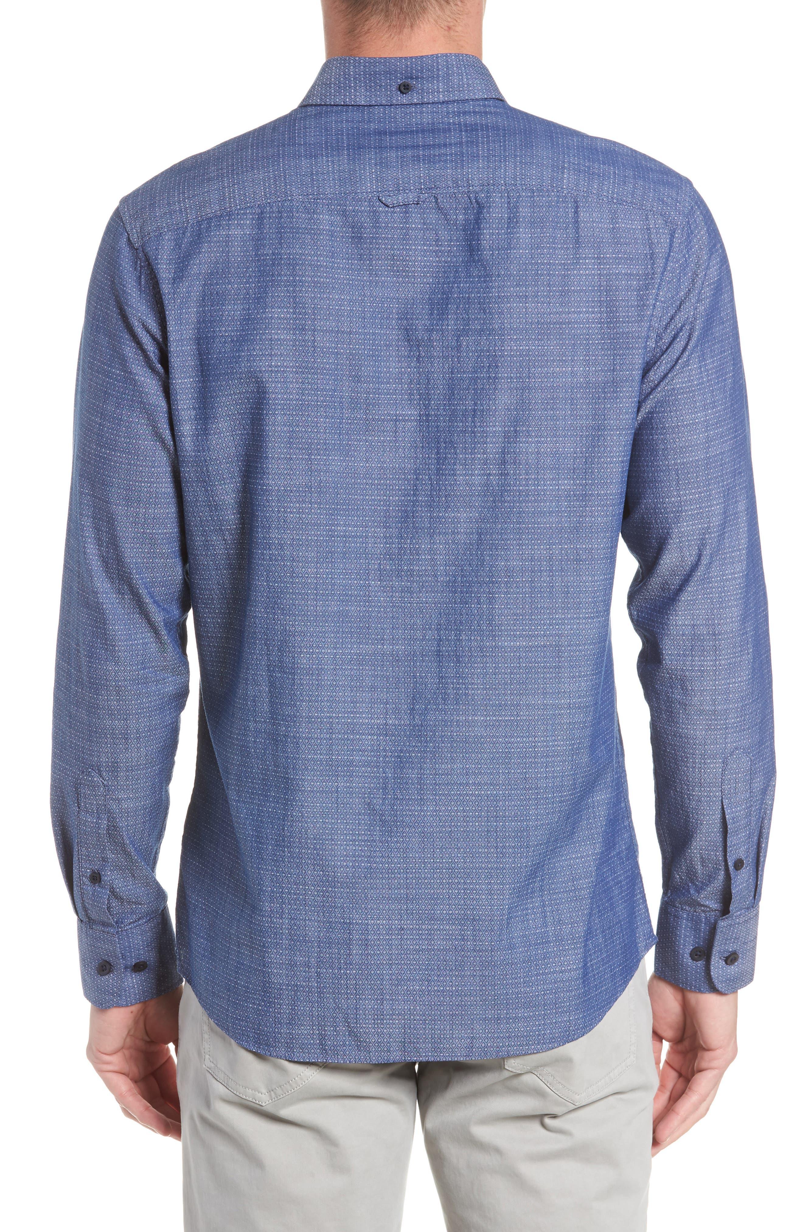 Trim Fit Jacquard Print Sport Shirt,                             Alternate thumbnail 3, color,                             410