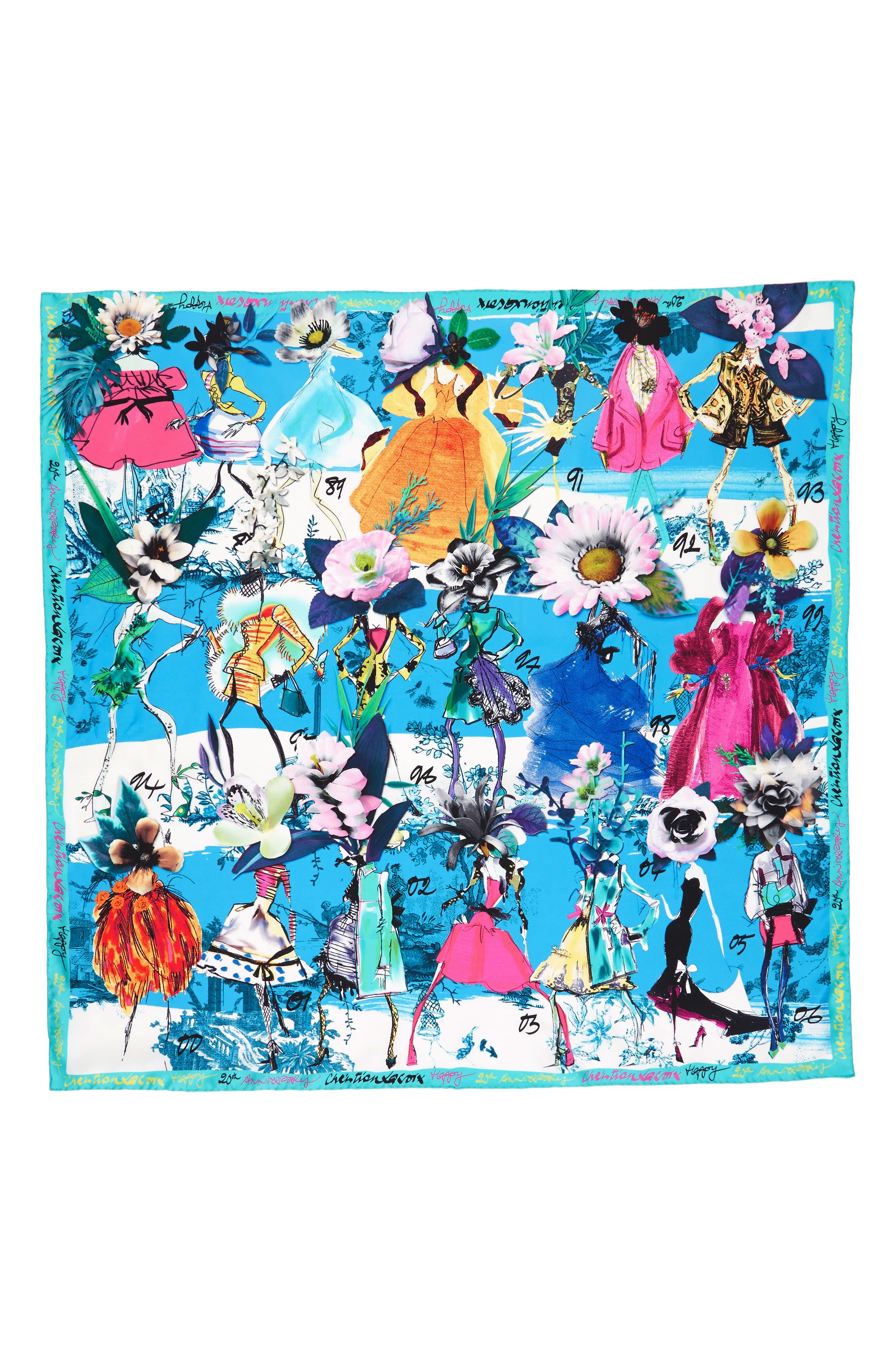Les Filles en Fleur Square Silk Scarf,                             Alternate thumbnail 12, color,