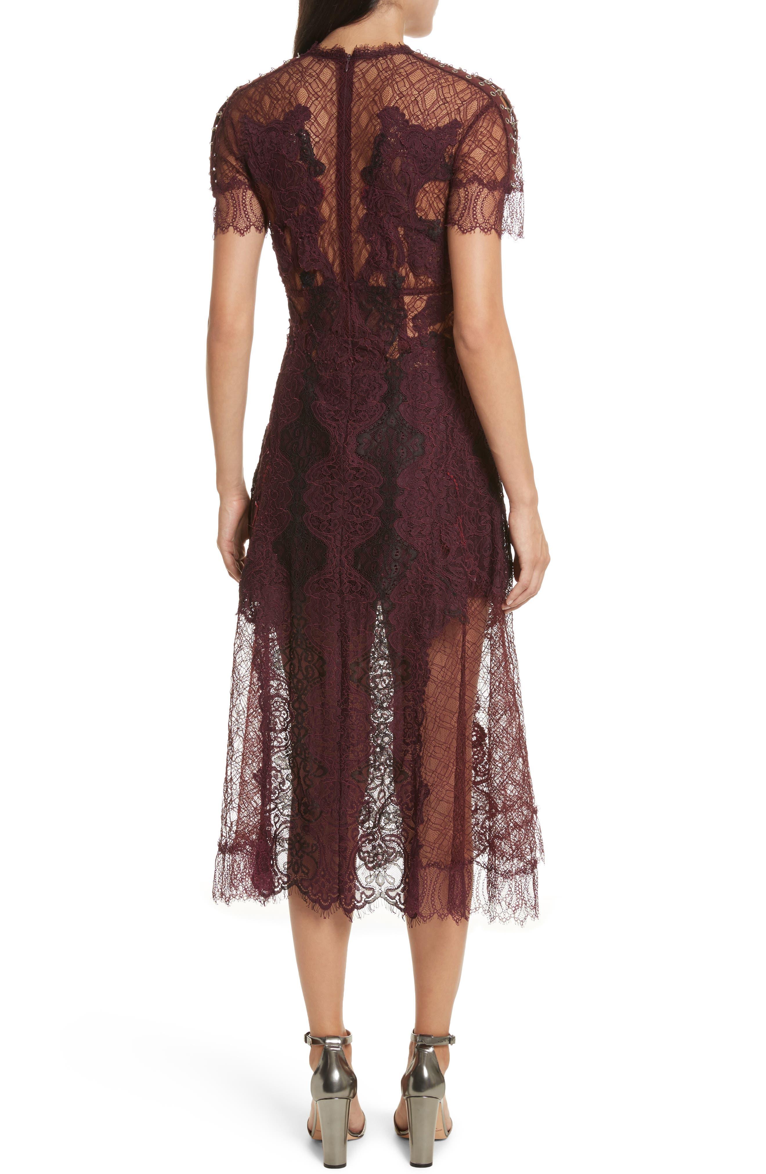 Grommet Detail Lace Dress,                             Alternate thumbnail 2, color,