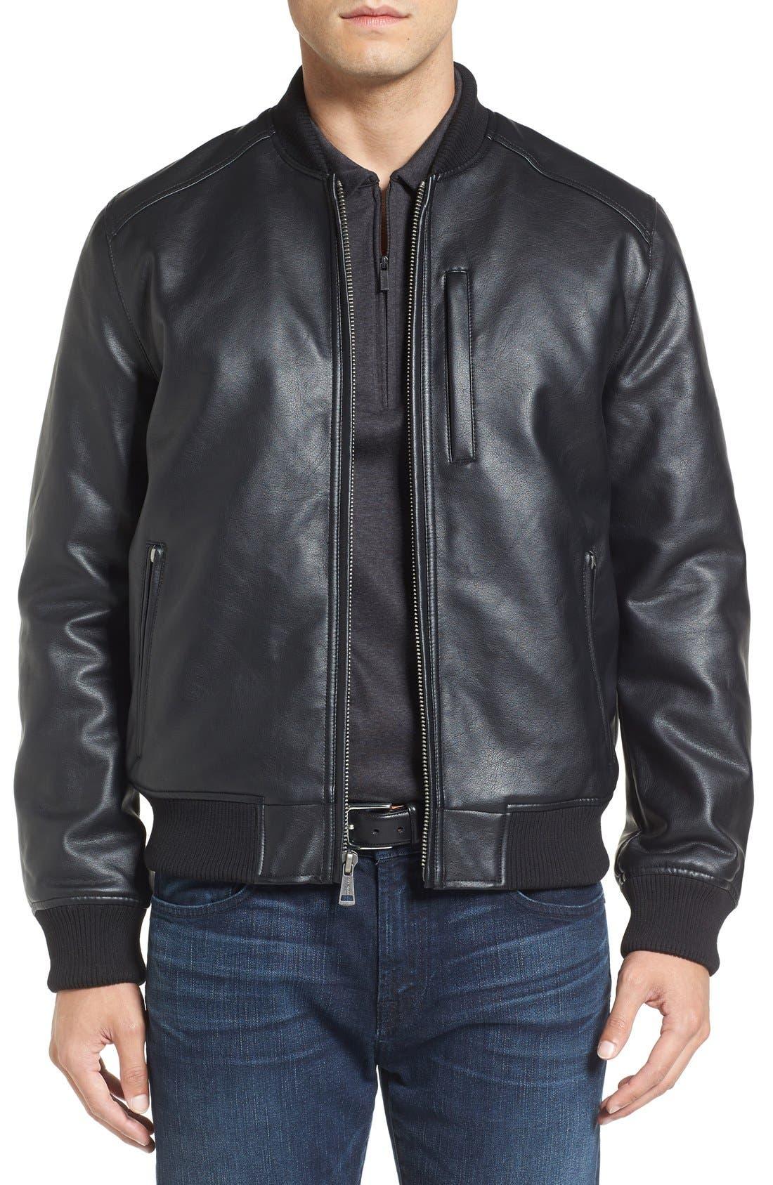 Faux Leather Varsity Jacket,                             Main thumbnail 1, color,                             001