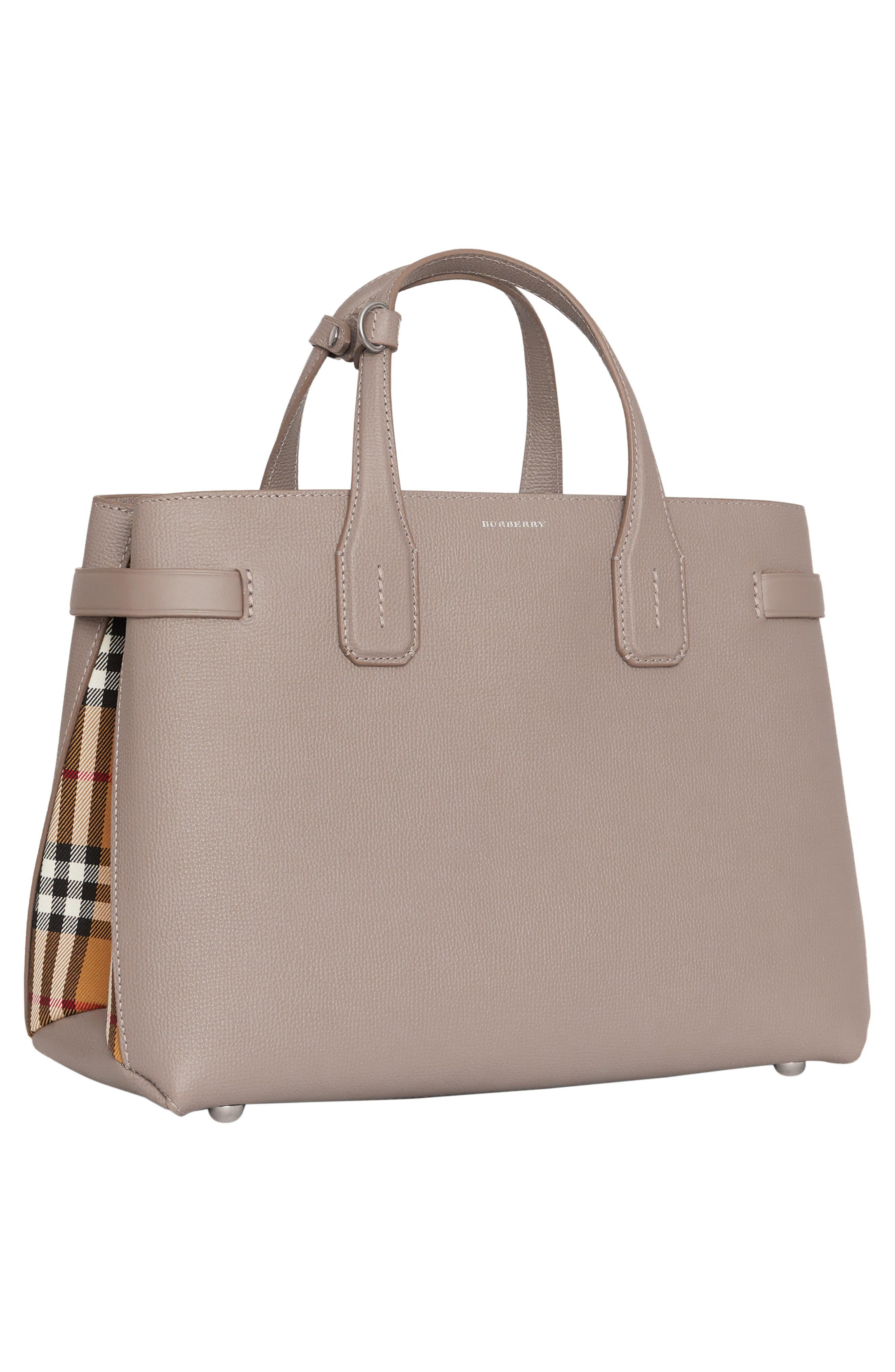 Medium Banner Leather Tote,                             Alternate thumbnail 5, color,                             TAUPE BROWN