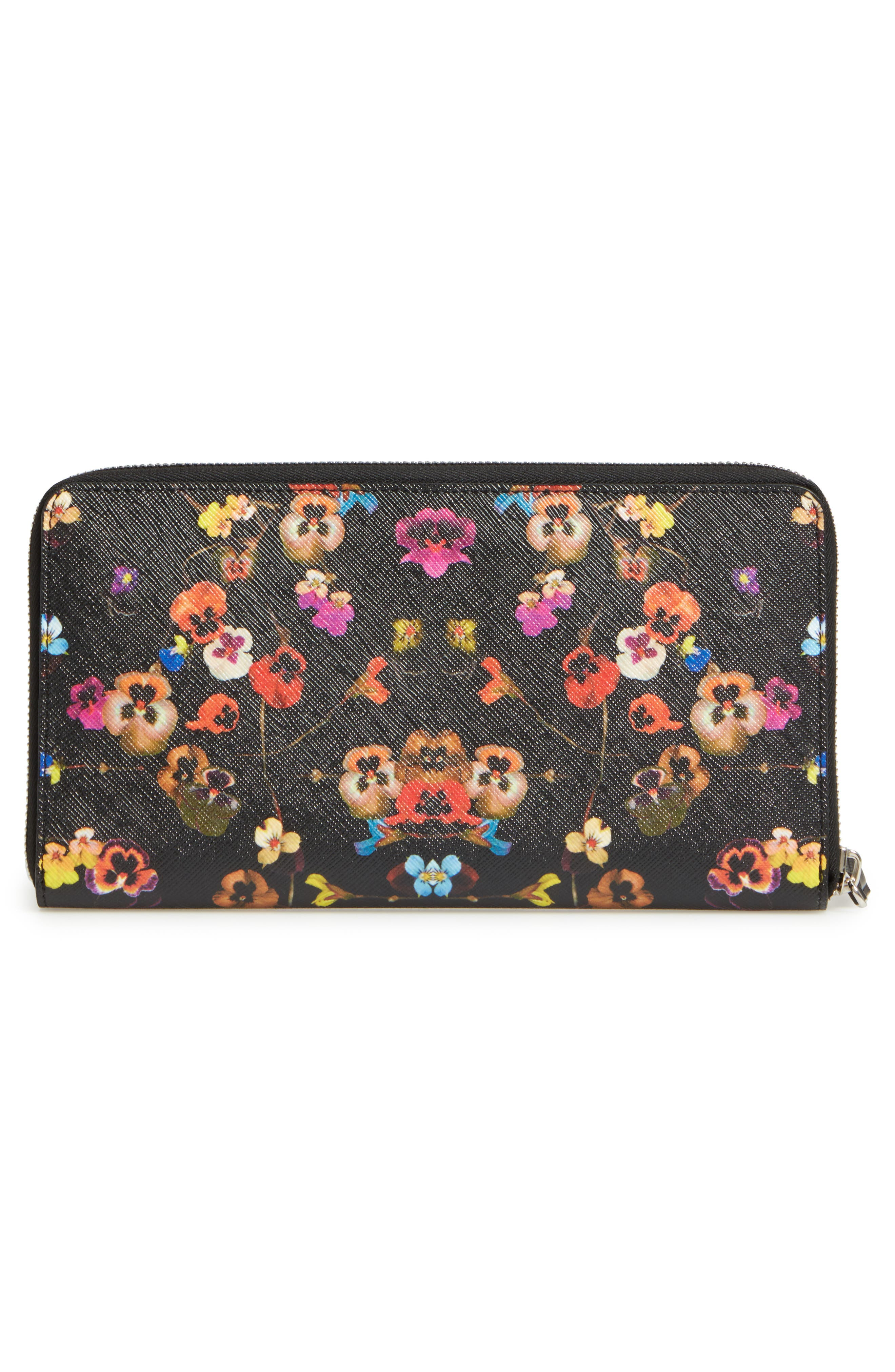 Night Pansy Zip Around Wallet,                             Alternate thumbnail 3, color,                             960