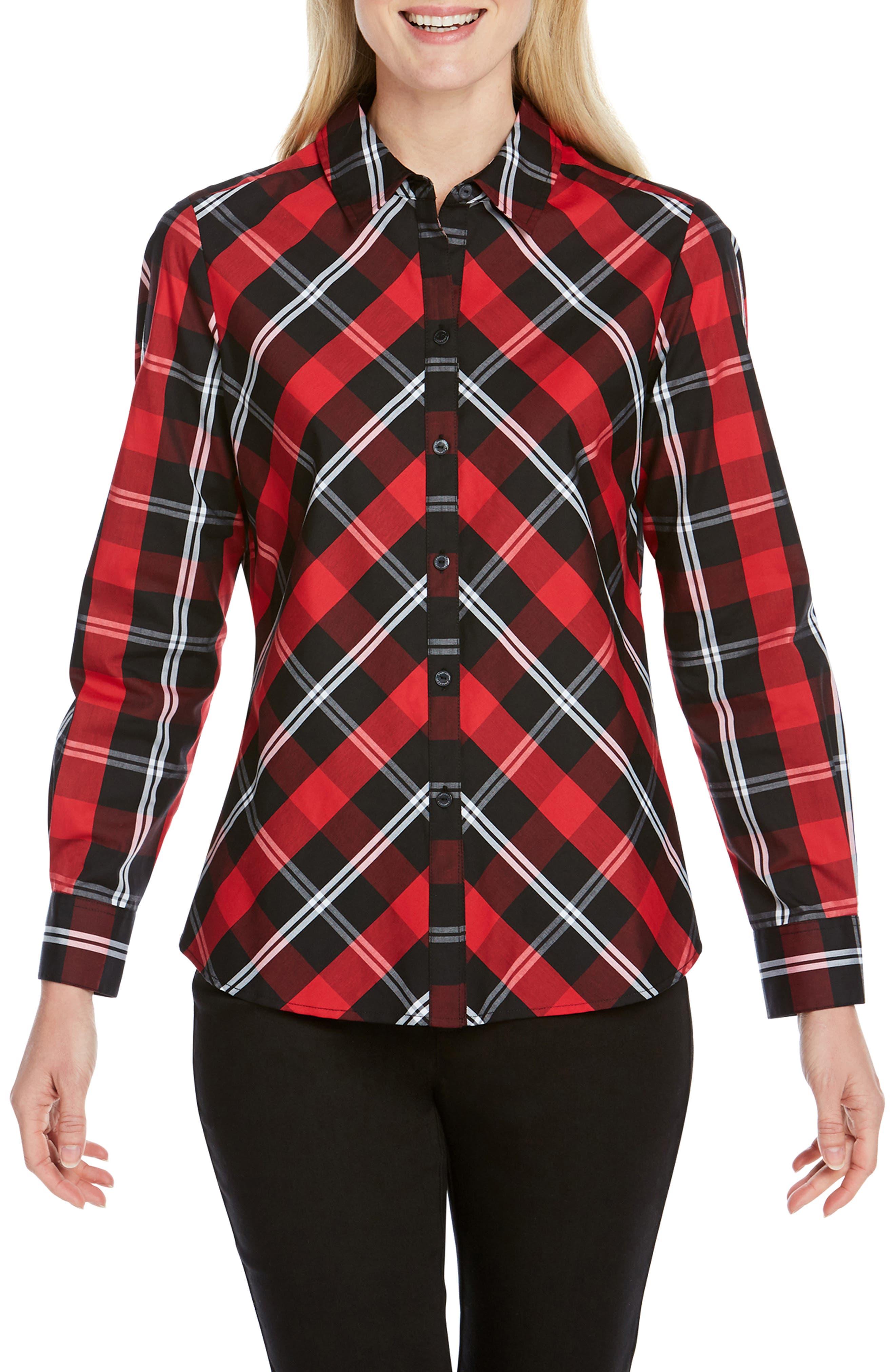 Foxcroft Tina Mackenzie Tartan Shirt, Red