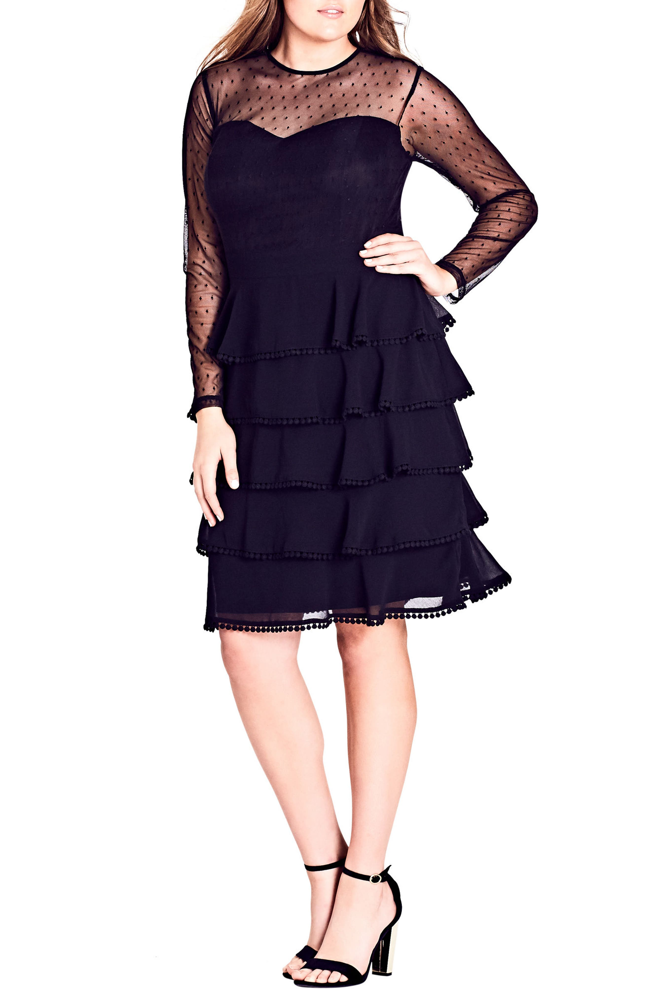 Sweet Tier Dress,                             Main thumbnail 1, color,                             BLACK