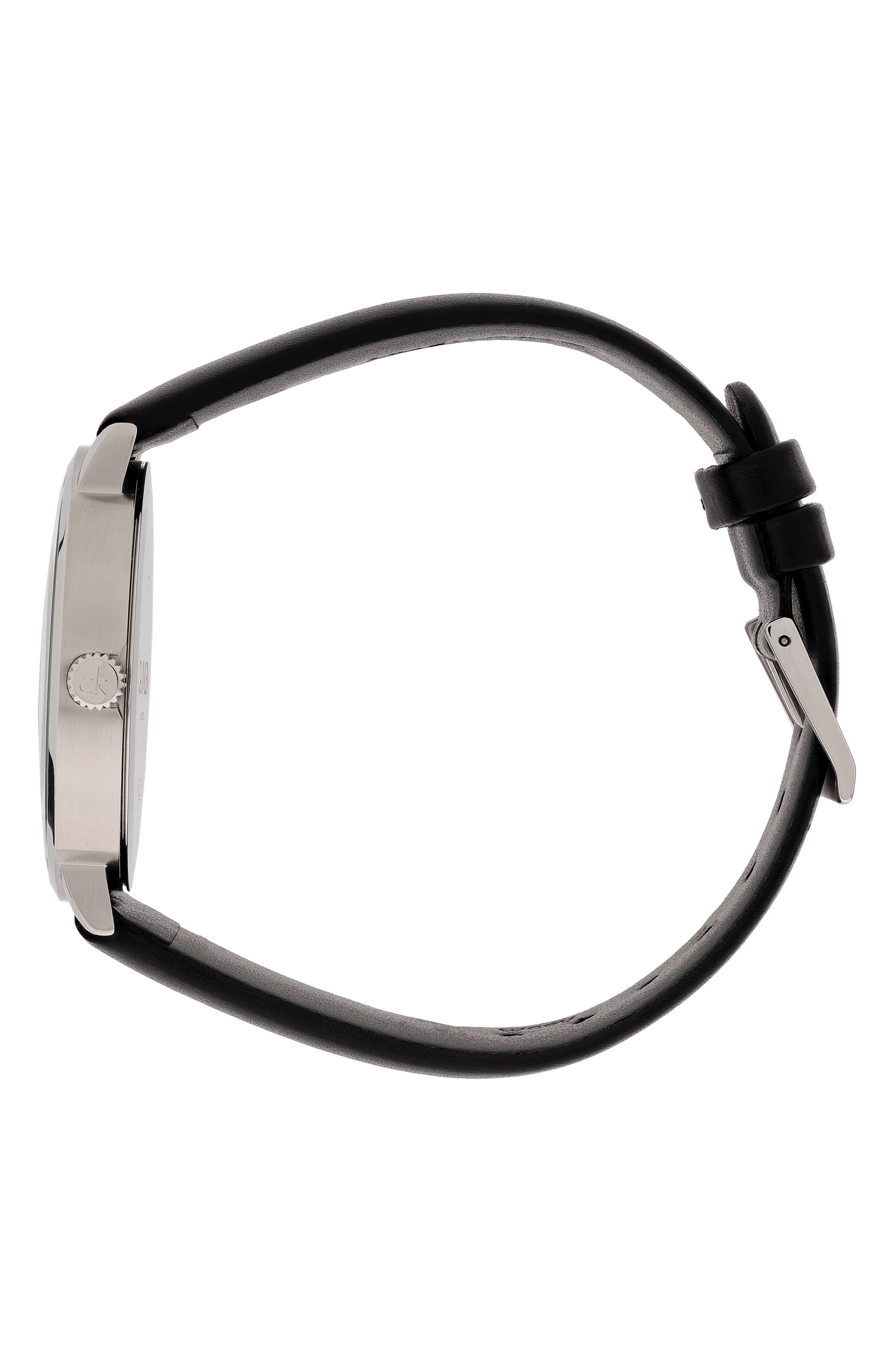 CALVIN KLEIN,                             Posh Leather Band Watch, 40mm,                             Alternate thumbnail 3, color,                             BLACK/ SILVER/ BLACK