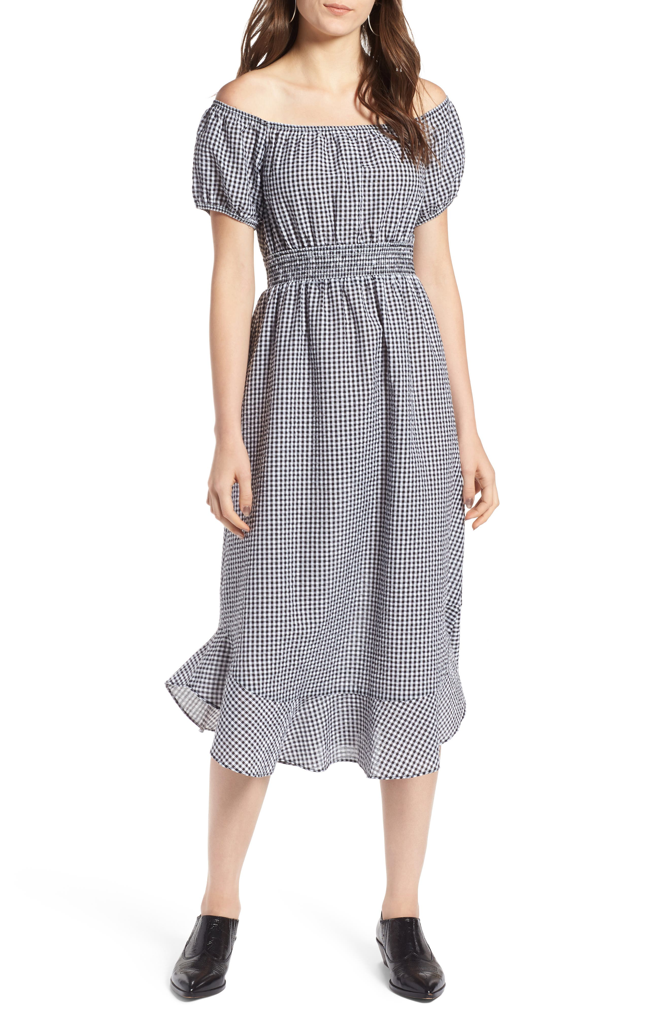 Gingham Off the Shoulder Dress,                             Main thumbnail 1, color,                             001