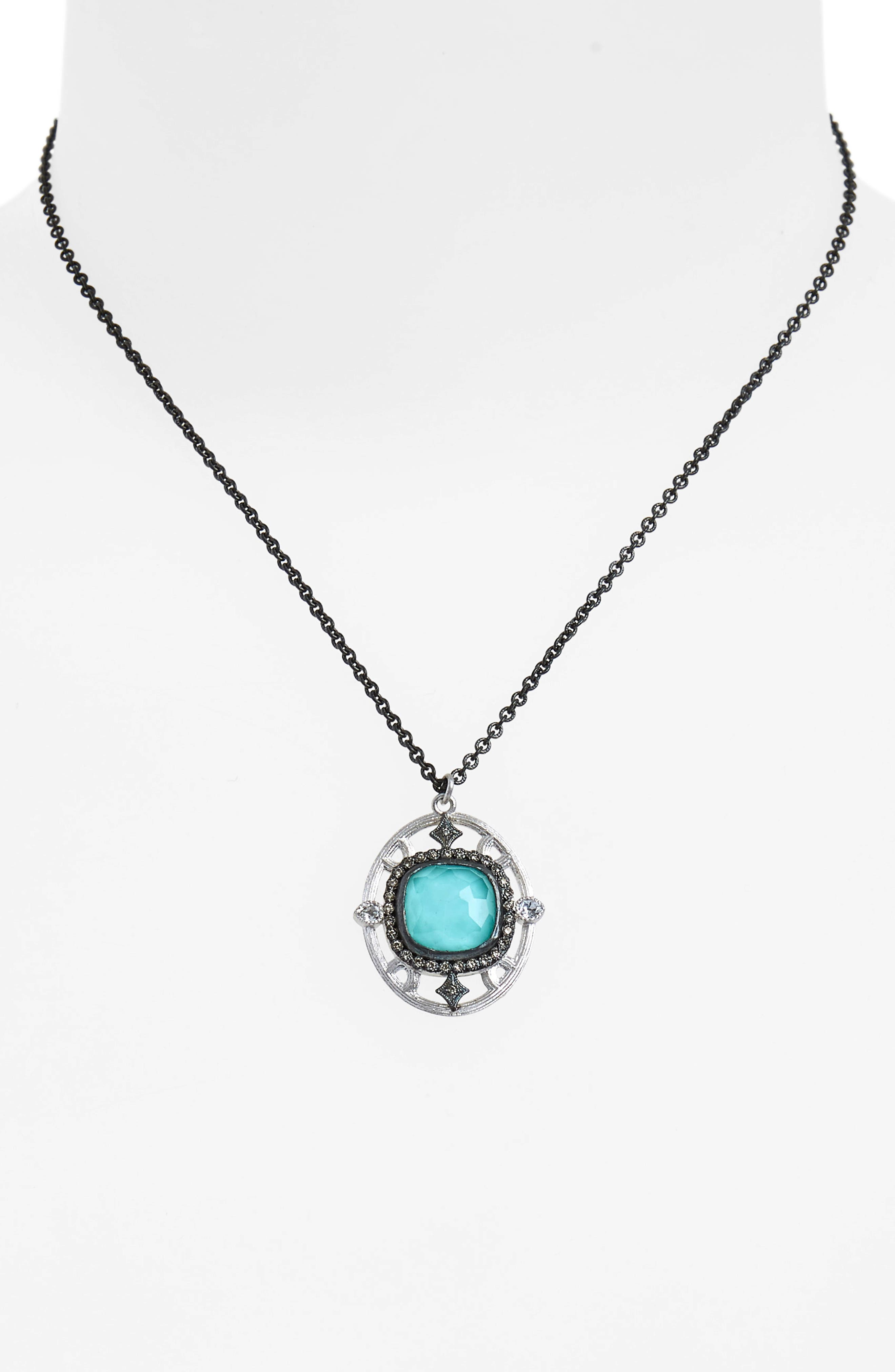 New World Crivelli Oval Drop Pendant Necklace,                             Alternate thumbnail 2, color,                             SILVER/ TURQUOISE