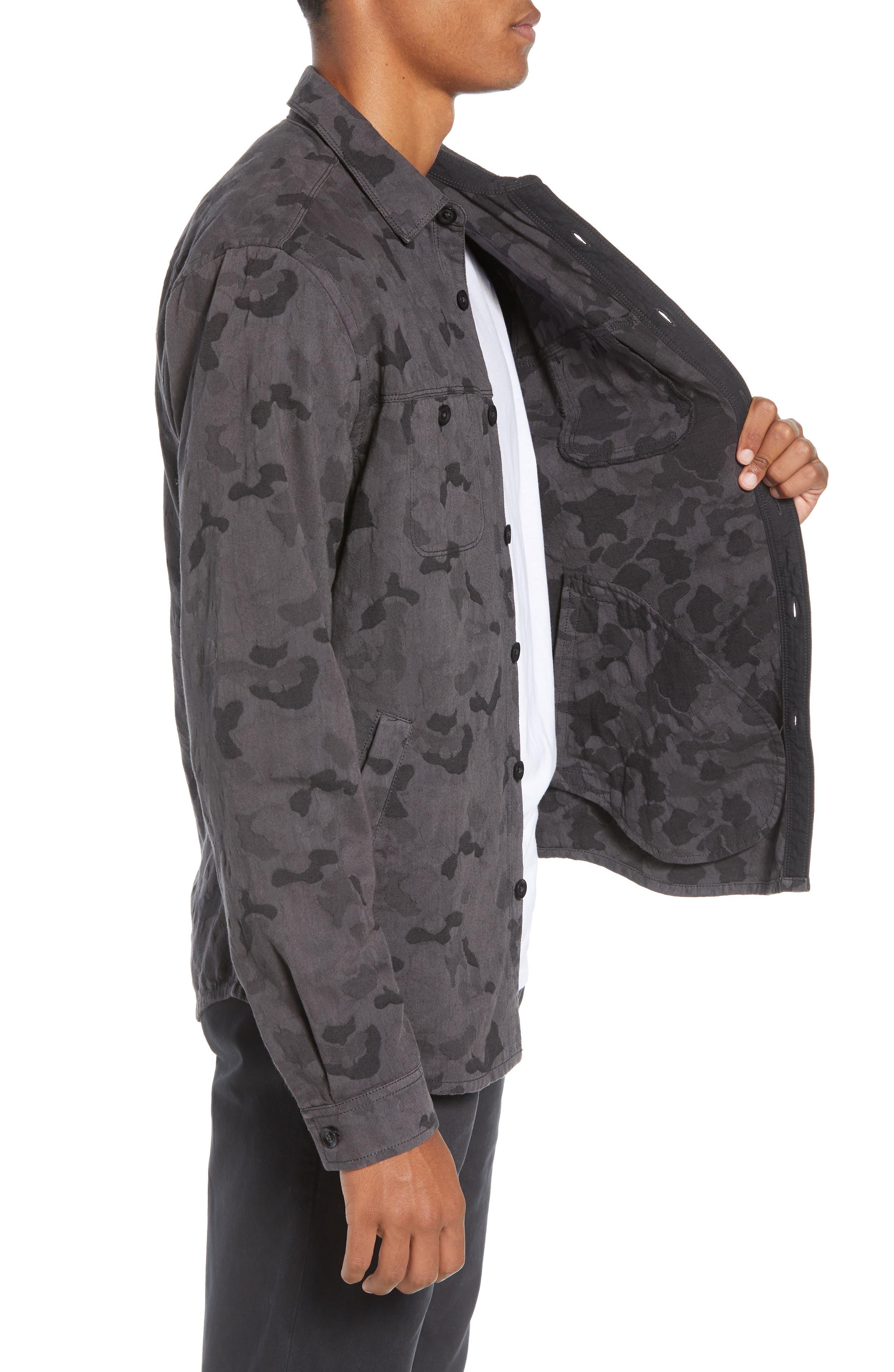 Camouflage Slim Cotton Jacquard Shirt Jacket,                             Alternate thumbnail 4, color,                             060