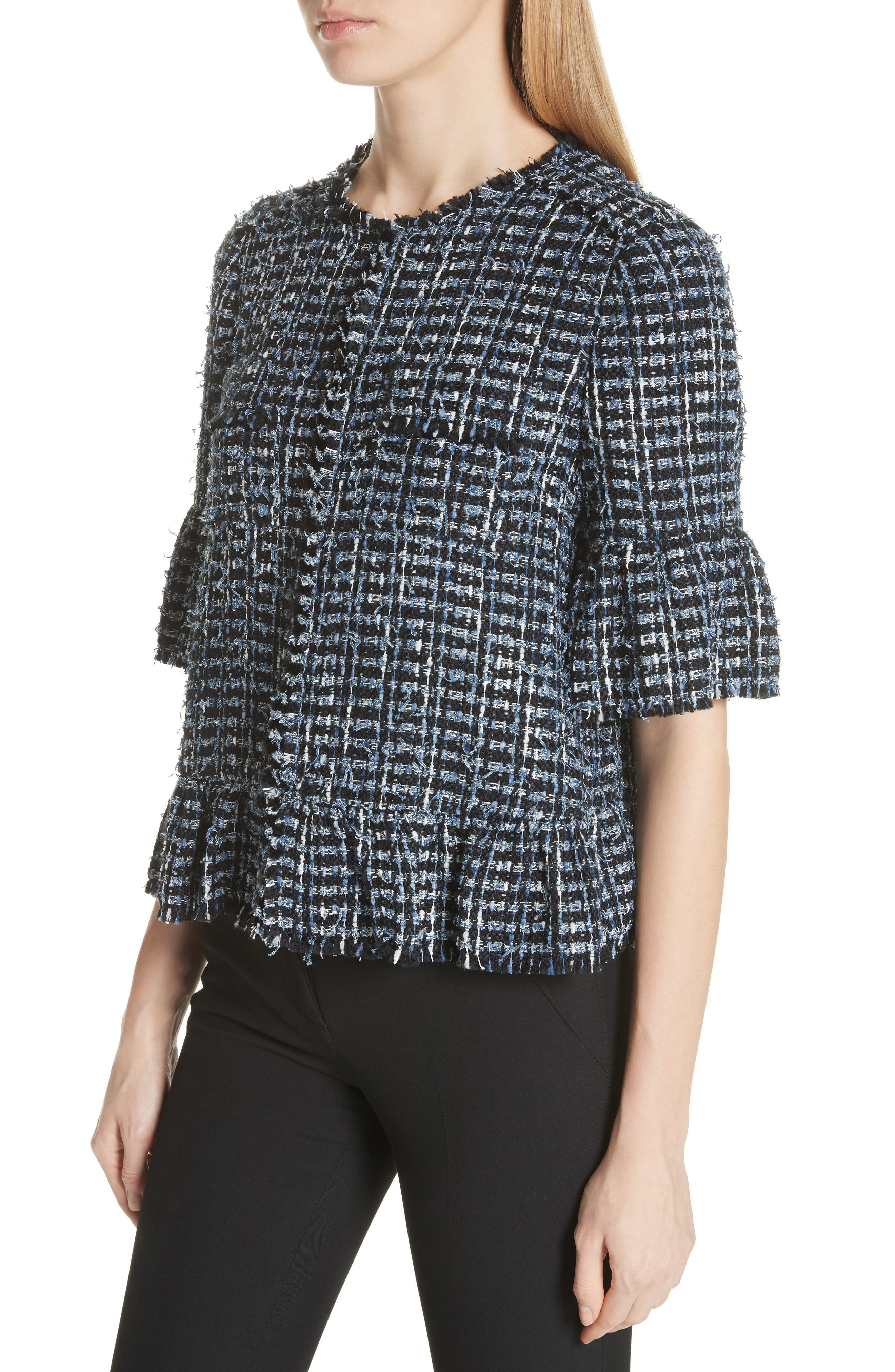 flounced sleeve tweed jacket,                             Alternate thumbnail 4, color,                             431