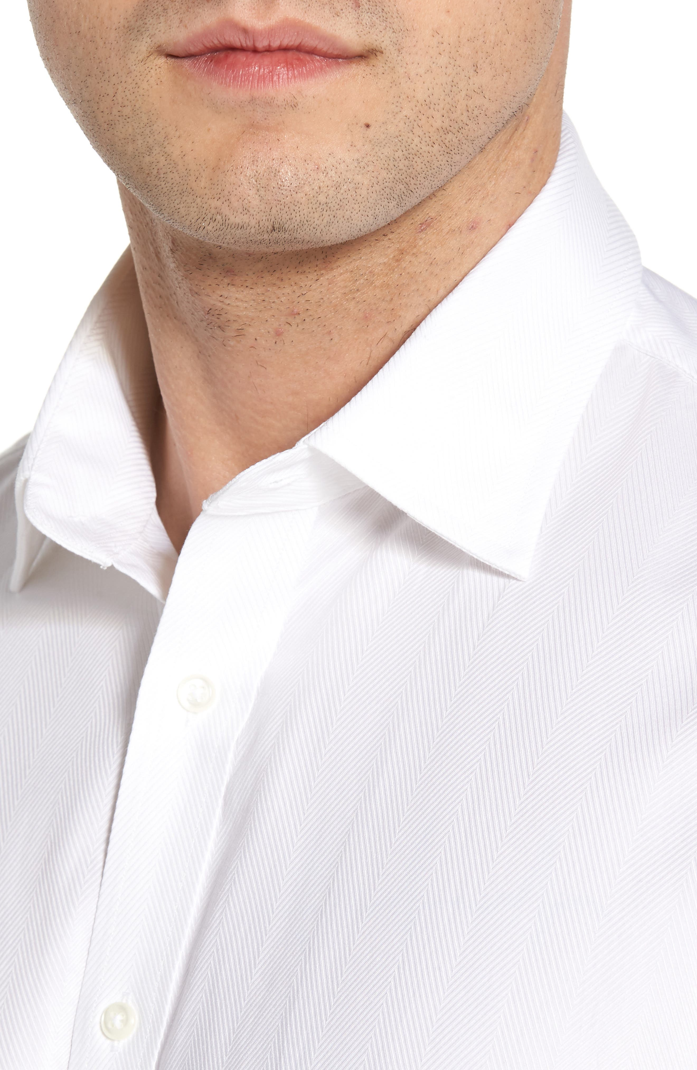 Traditional Fit Herringbone Dress Shirt,                             Alternate thumbnail 2, color,                             WHITE
