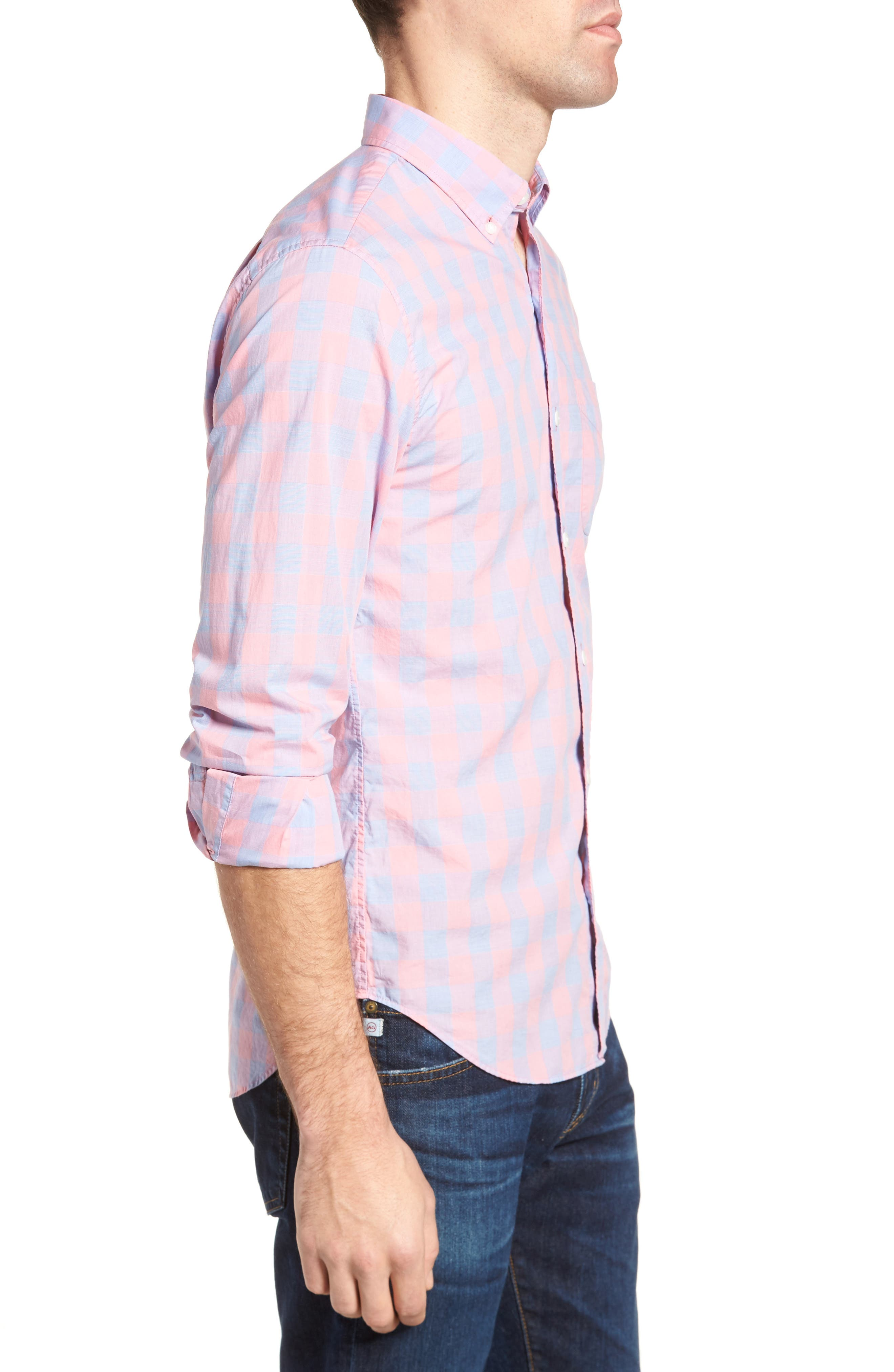 Summerweight Slim Fit Gingham Sport Shirt,                             Alternate thumbnail 3, color,                             650