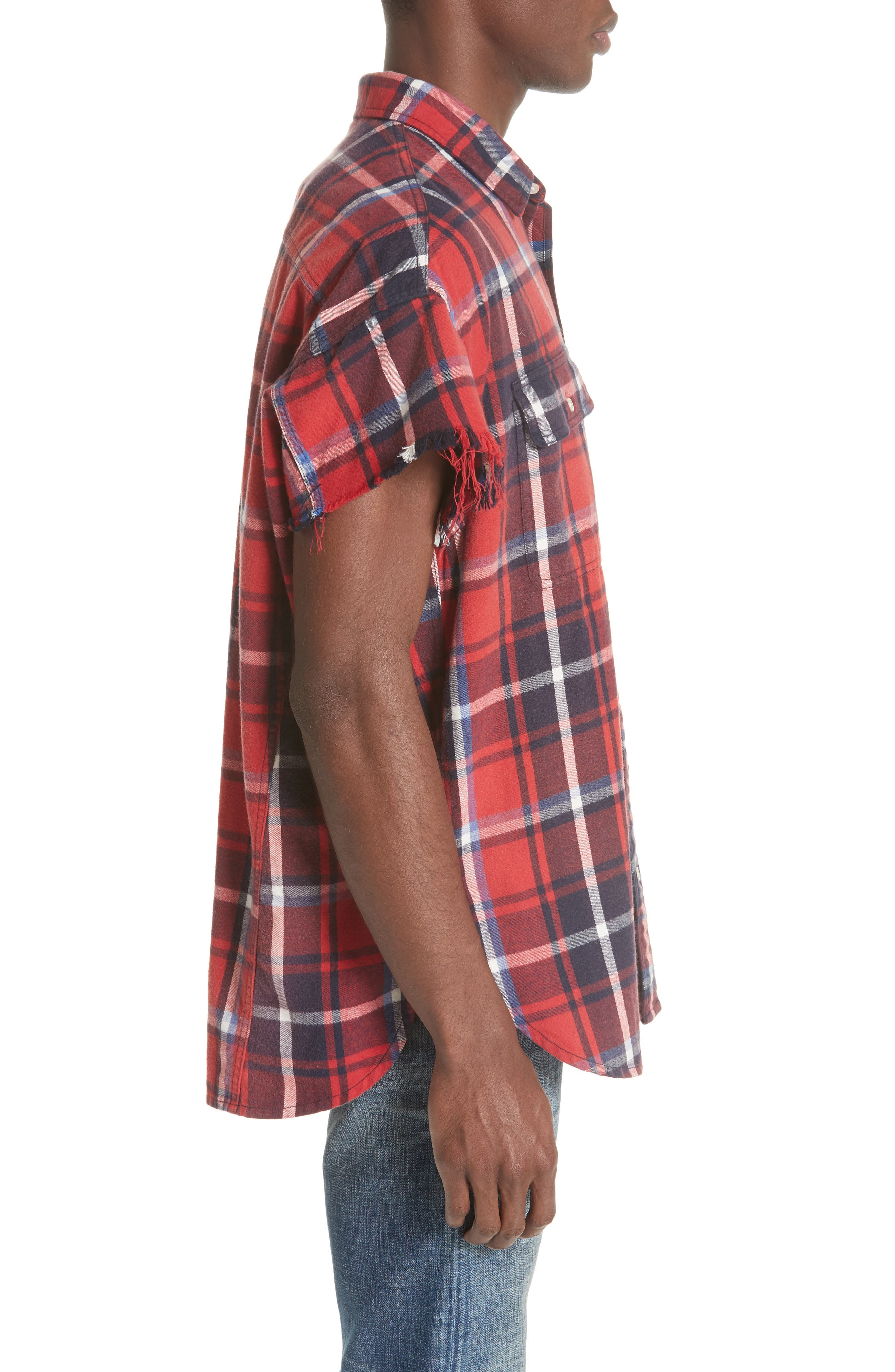 Oversize Cut Off Flannel Shirt,                             Alternate thumbnail 3, color,                             RED