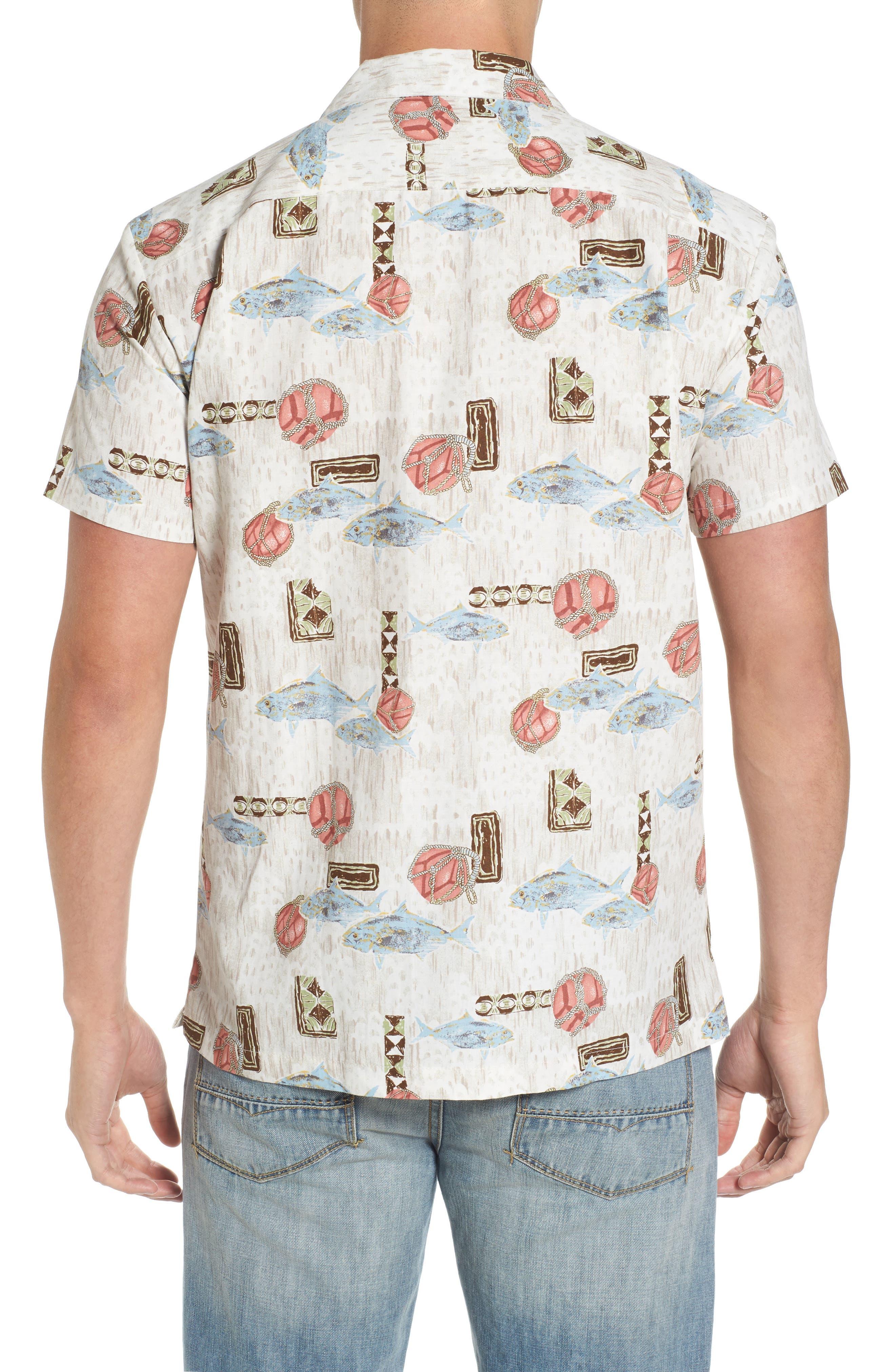 Scales Trim Fit Print Sport Shirt,                             Alternate thumbnail 4, color,