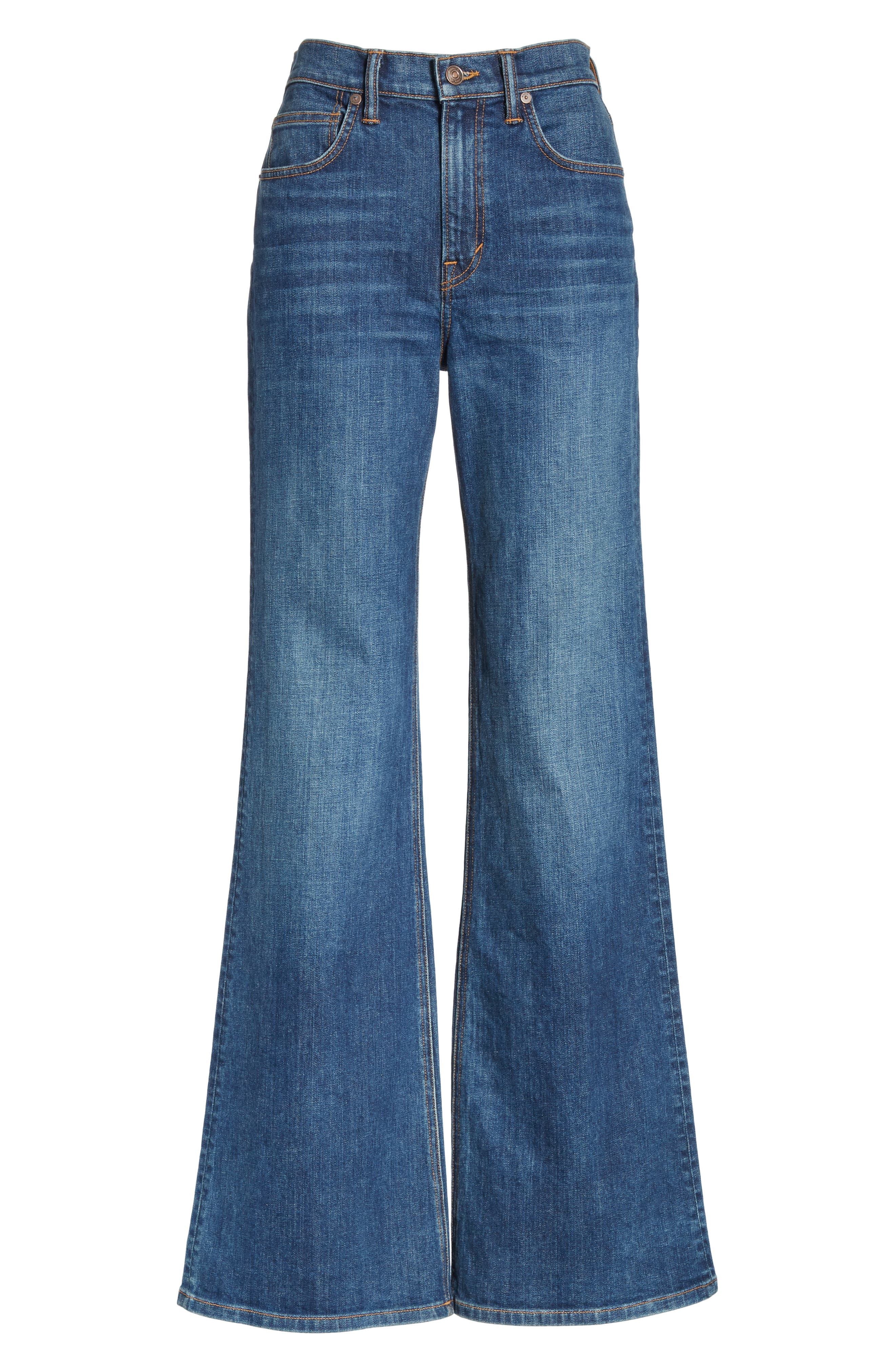 Wide Flare Leg Jeans,                             Alternate thumbnail 6, color,                             TRUE VINTAGE WASH
