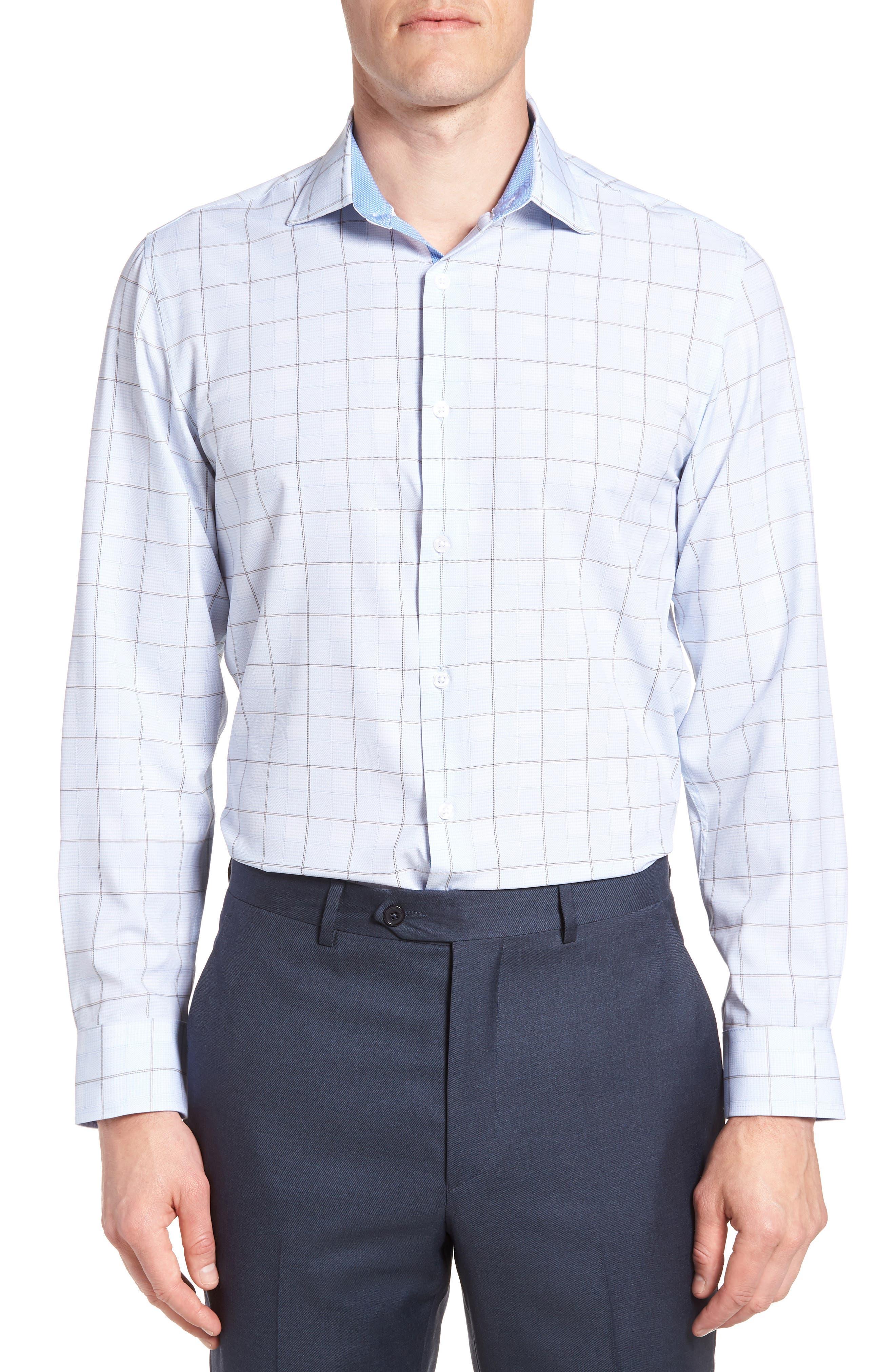 Trim Fit Plaid 4-Way Stretch Dress Shirt,                         Main,                         color, BLUE