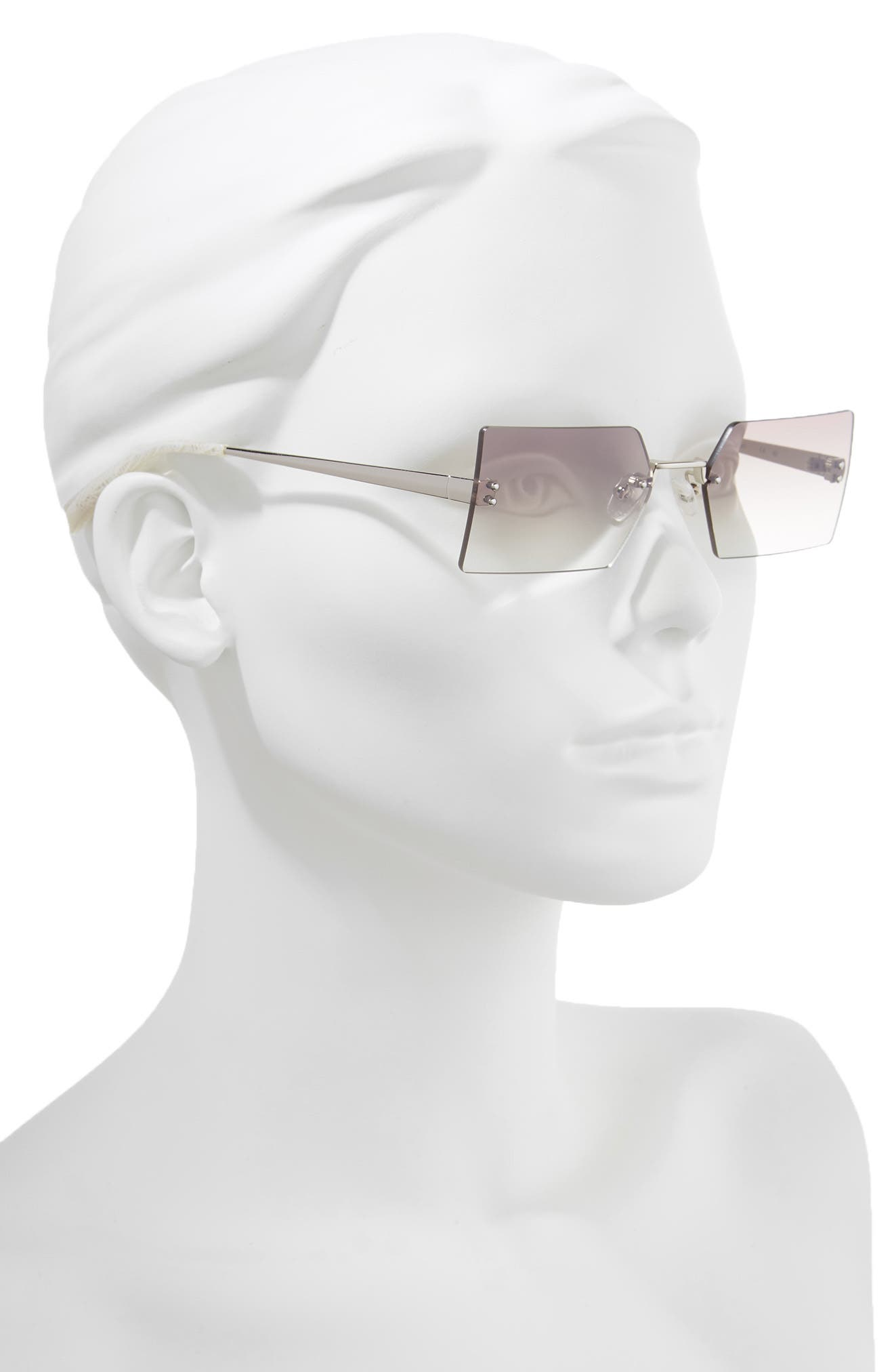 Grace 53mm Rimless Rectangular Sunglasses,                             Alternate thumbnail 2, color,                             SILVER/ BROWN/ CLEAR GRADIENT