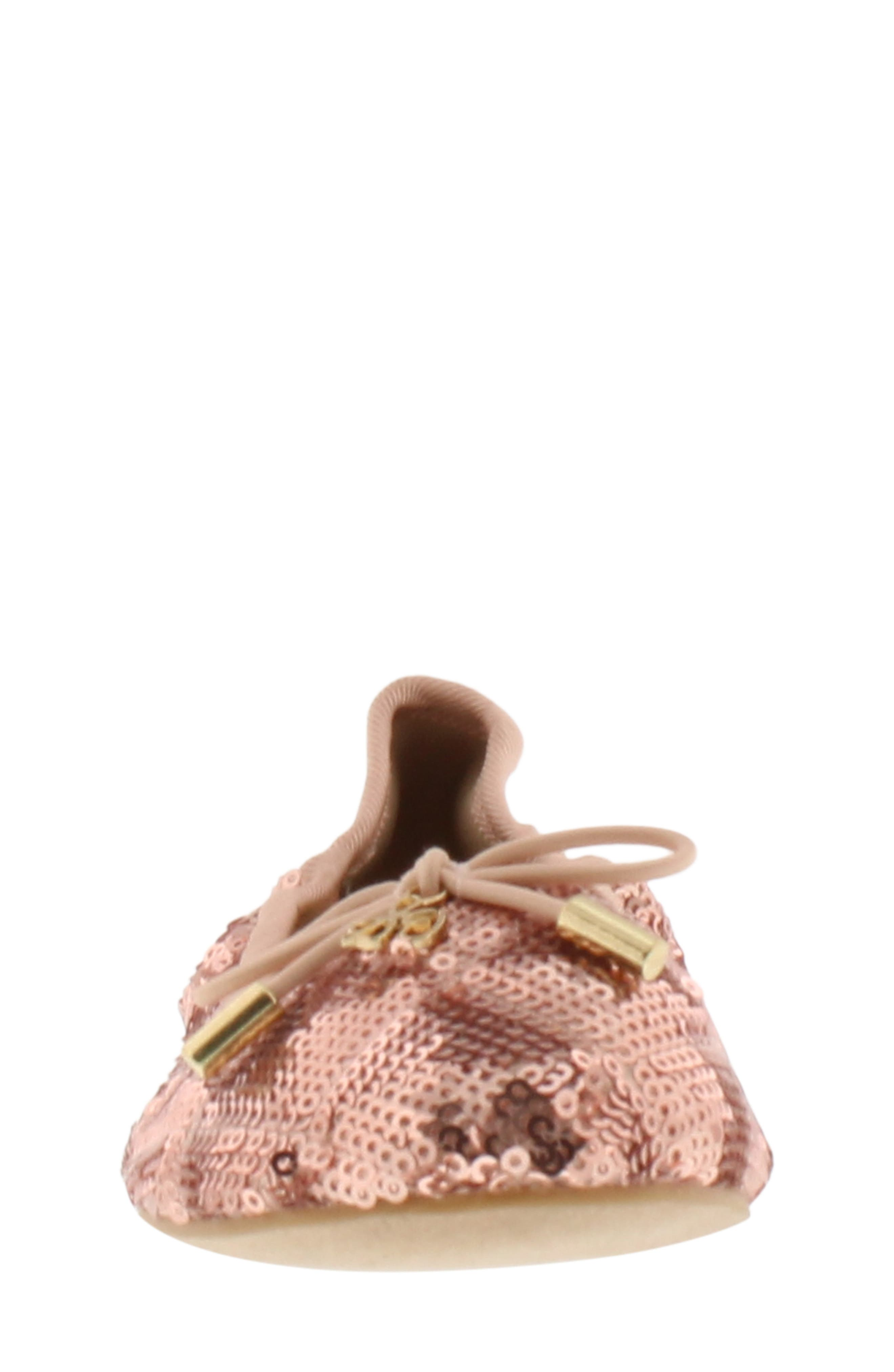 Felicia Sequin Ballet Flat,                             Alternate thumbnail 4, color,                             ROSE GOLD