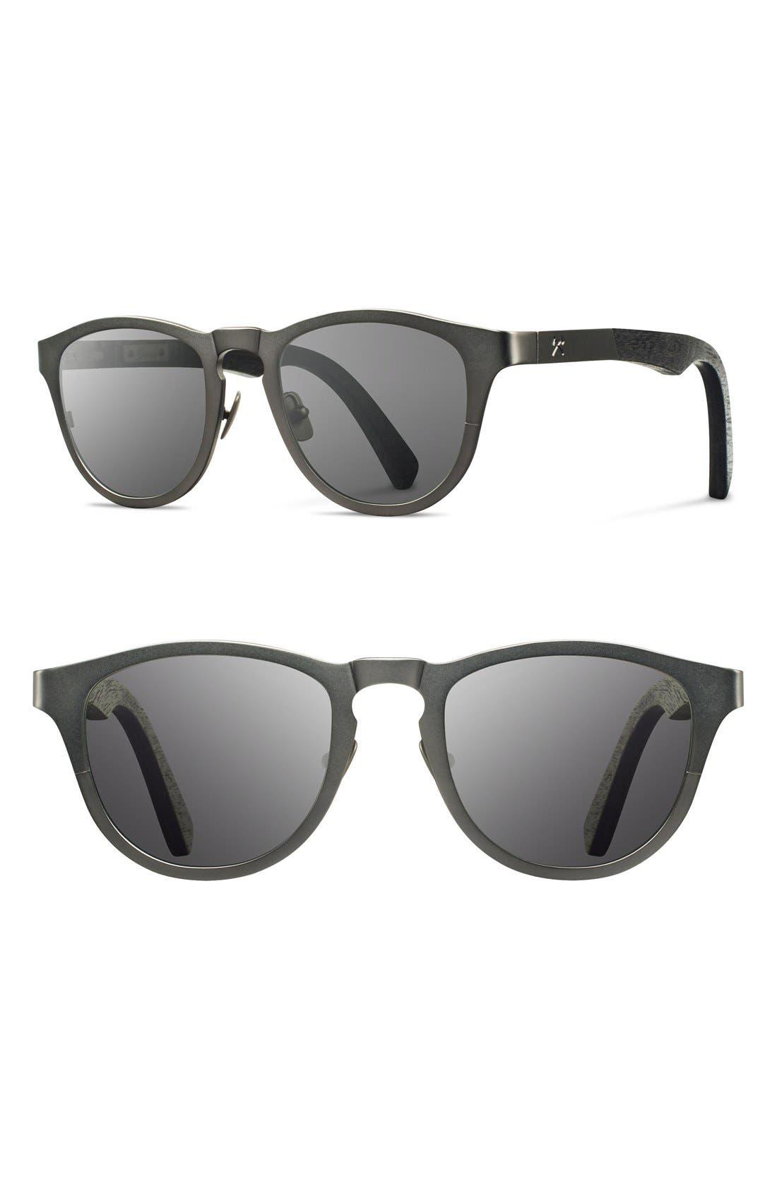 'Francis' 49mm Titanium & Wood Sunglasses,                             Main thumbnail 4, color,