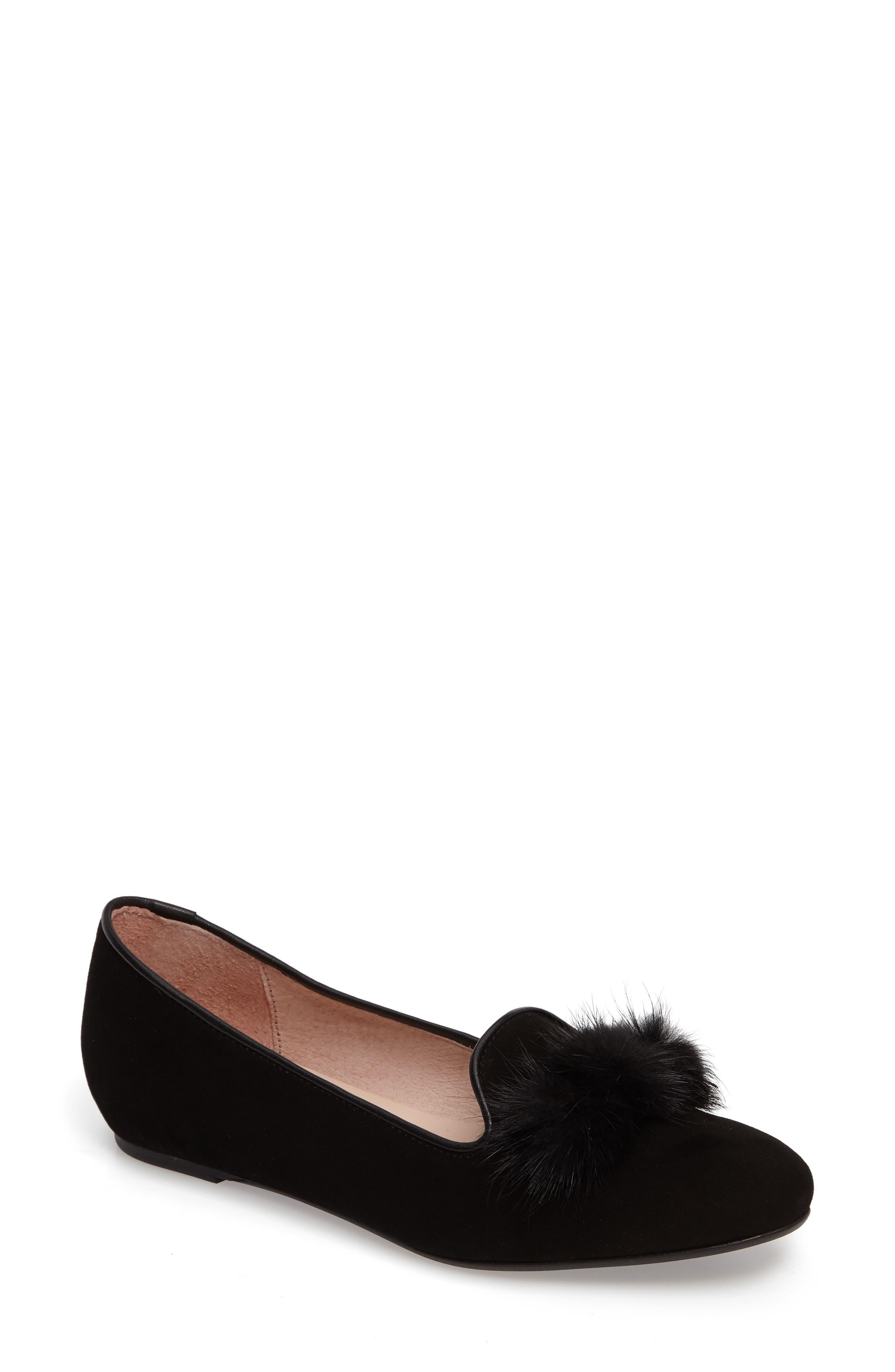 Wallis Genuine Fur Pompom Loafer,                             Main thumbnail 1, color,                             001