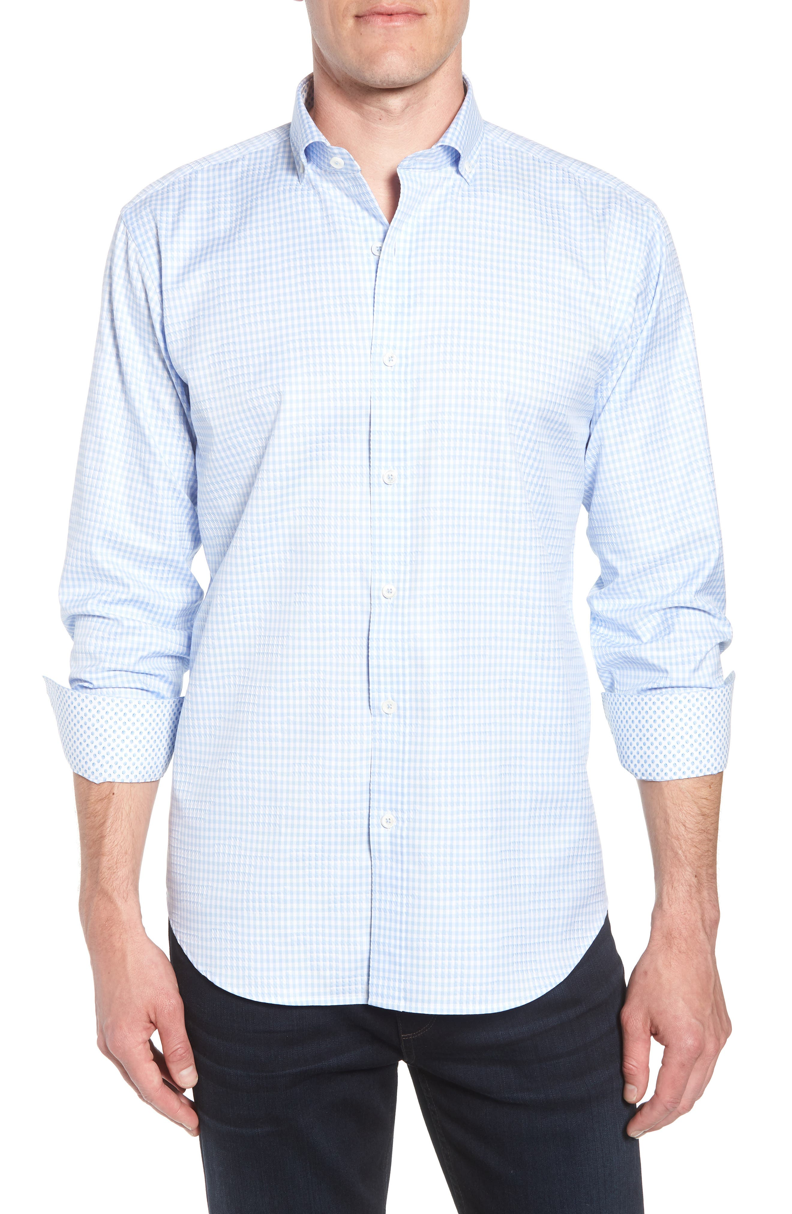Shaped Fit Gingham Sport Shirt,                             Main thumbnail 1, color,                             459