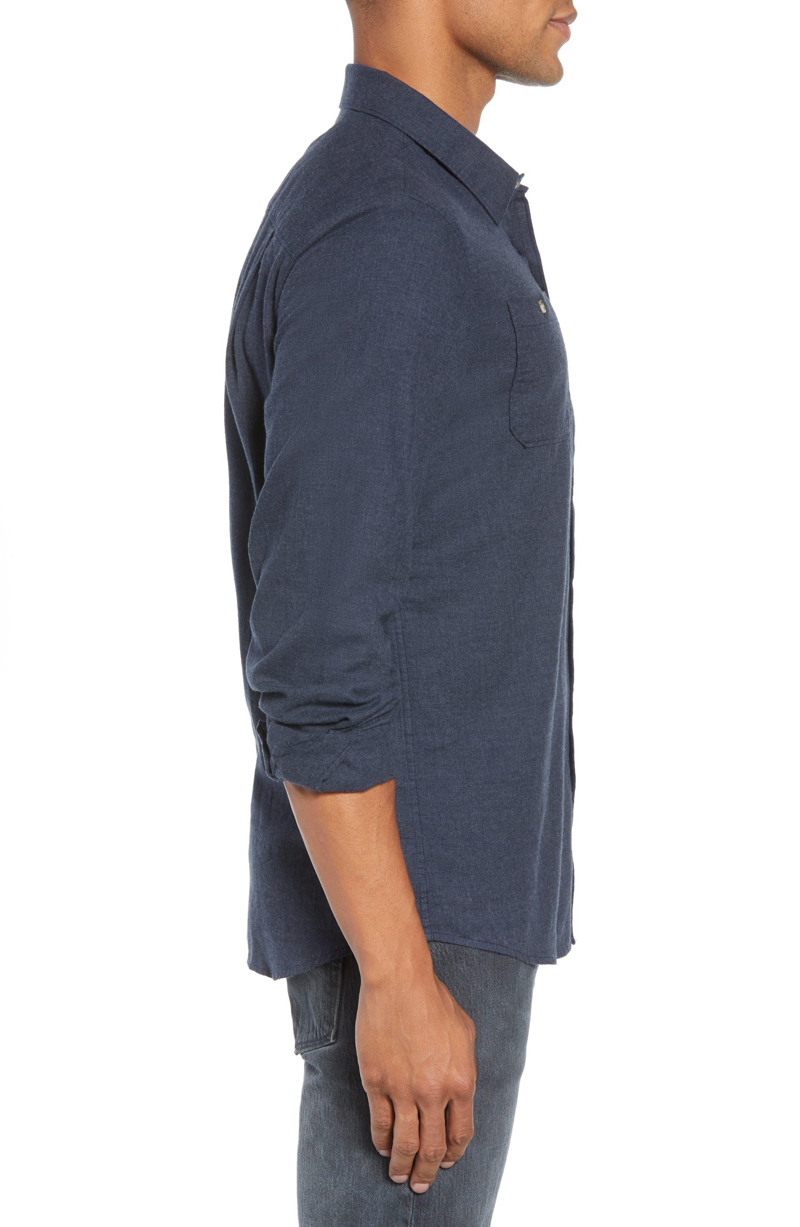 Hefe Regular Fit Flannel Sport Shirt,                             Alternate thumbnail 4, color,                             BLUE NIGHTS