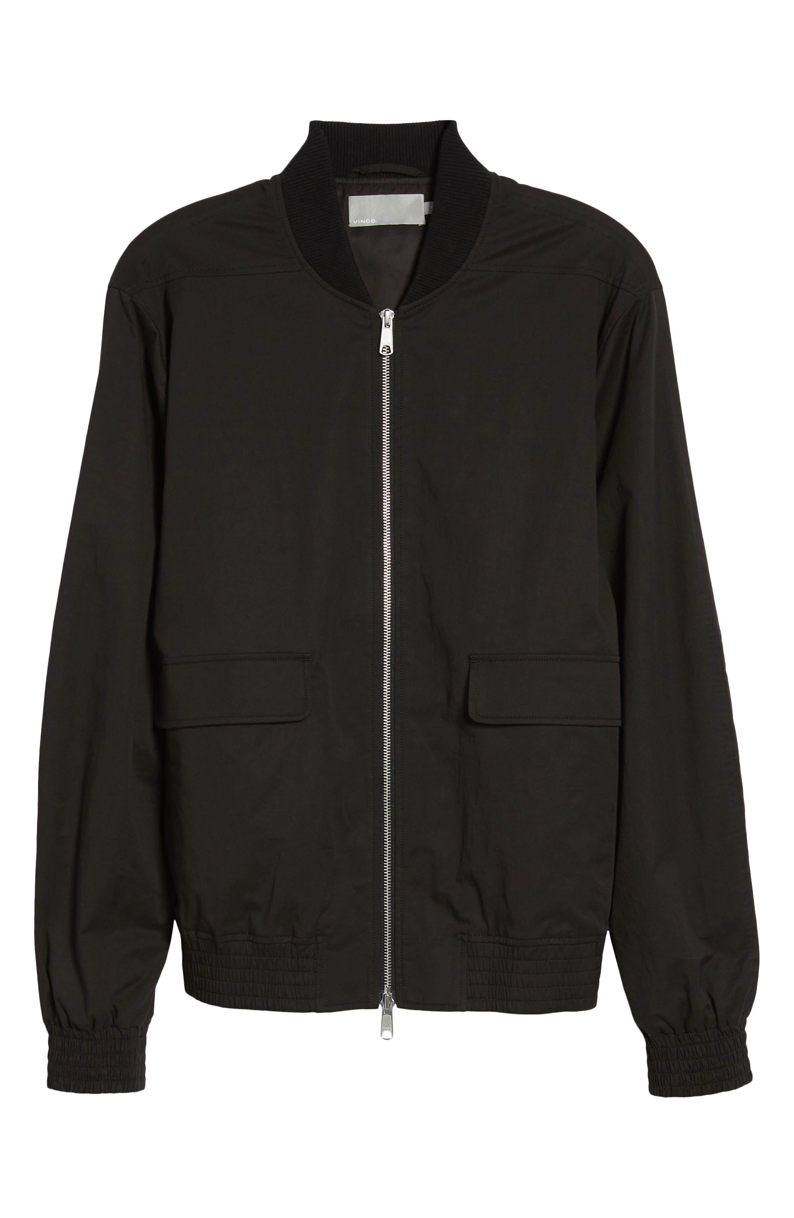 Regular Fit Bomber Jacket,                             Alternate thumbnail 5, color,                             BLACK