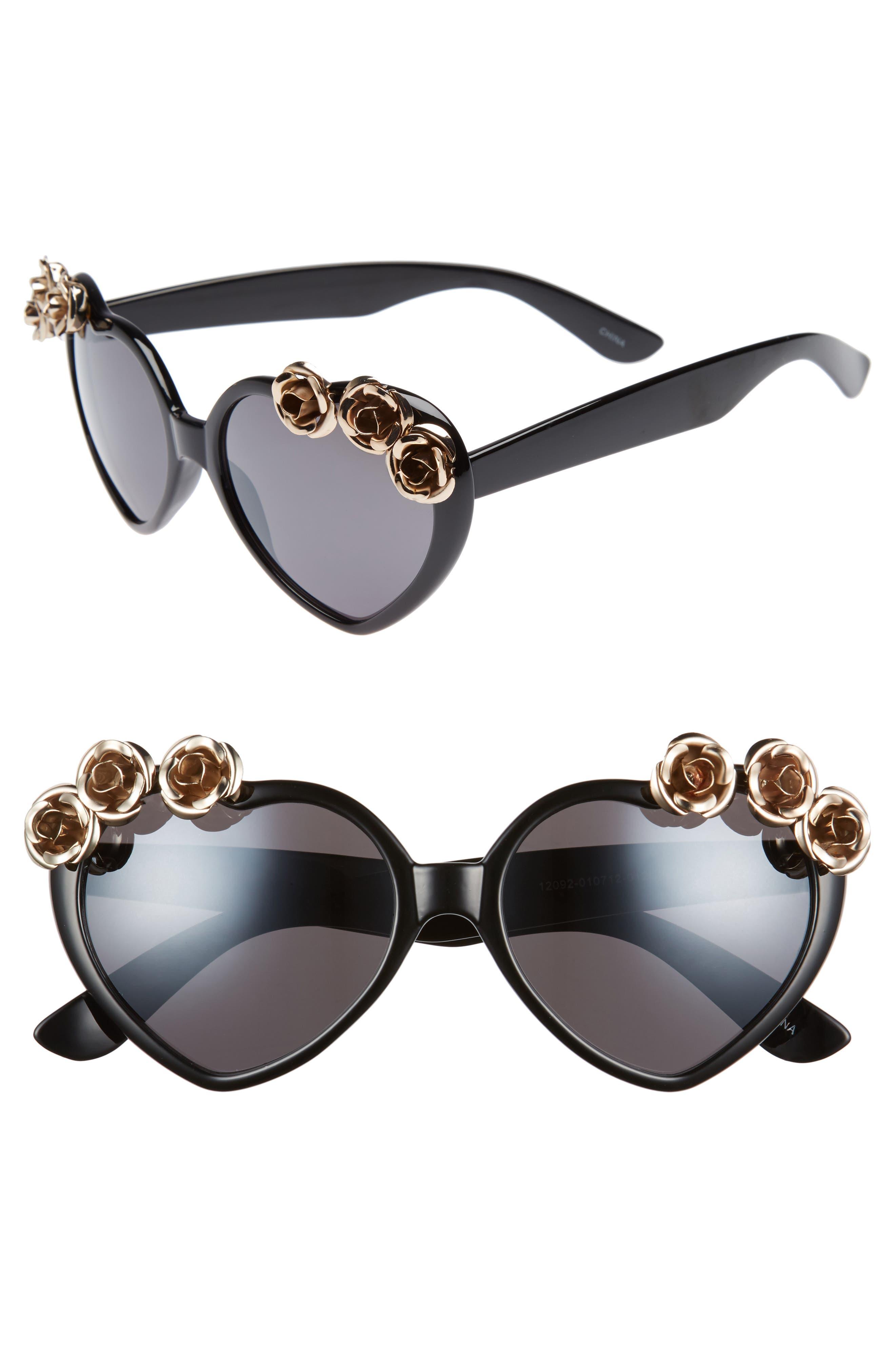 58mm Rose Embellished Heart Sunglasses,                         Main,                         color, 001