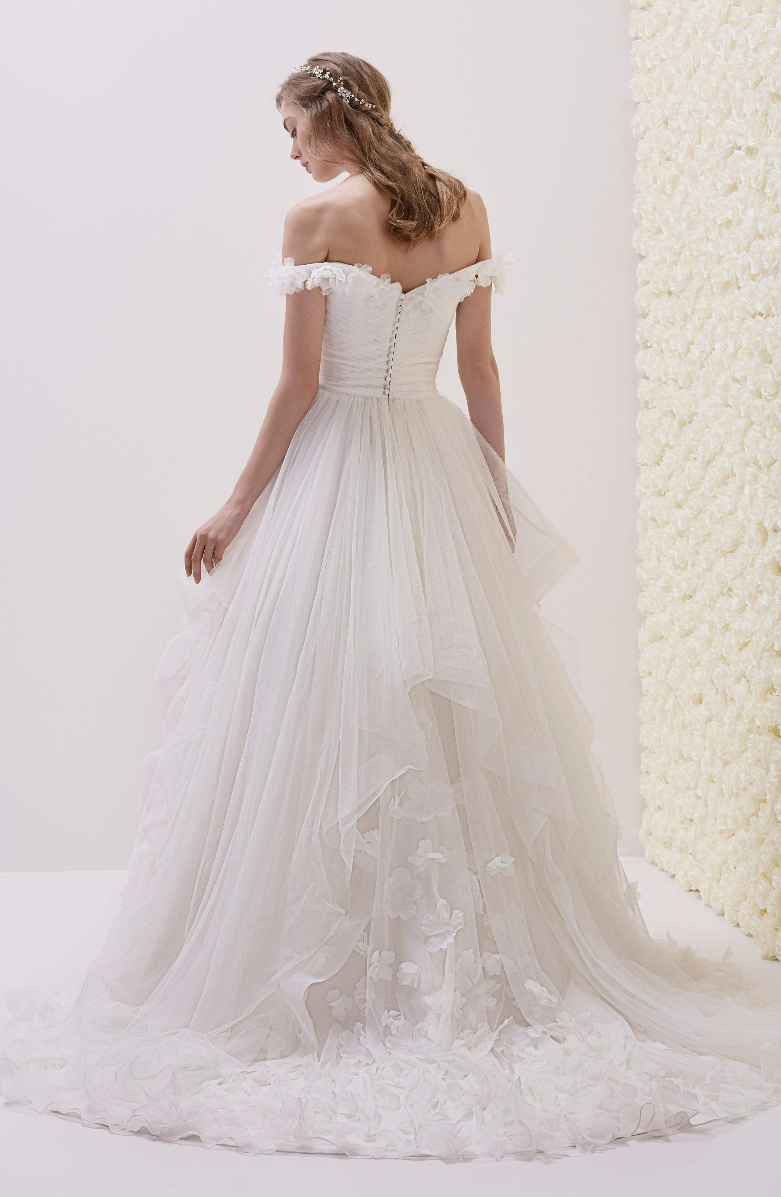 Elodia Off the Shoulder Ballgown,                             Alternate thumbnail 2, color,                             OFF WHITE