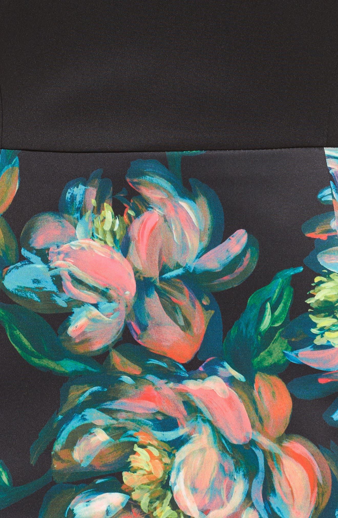 Floral Print Sheath Dress,                             Alternate thumbnail 5, color,
