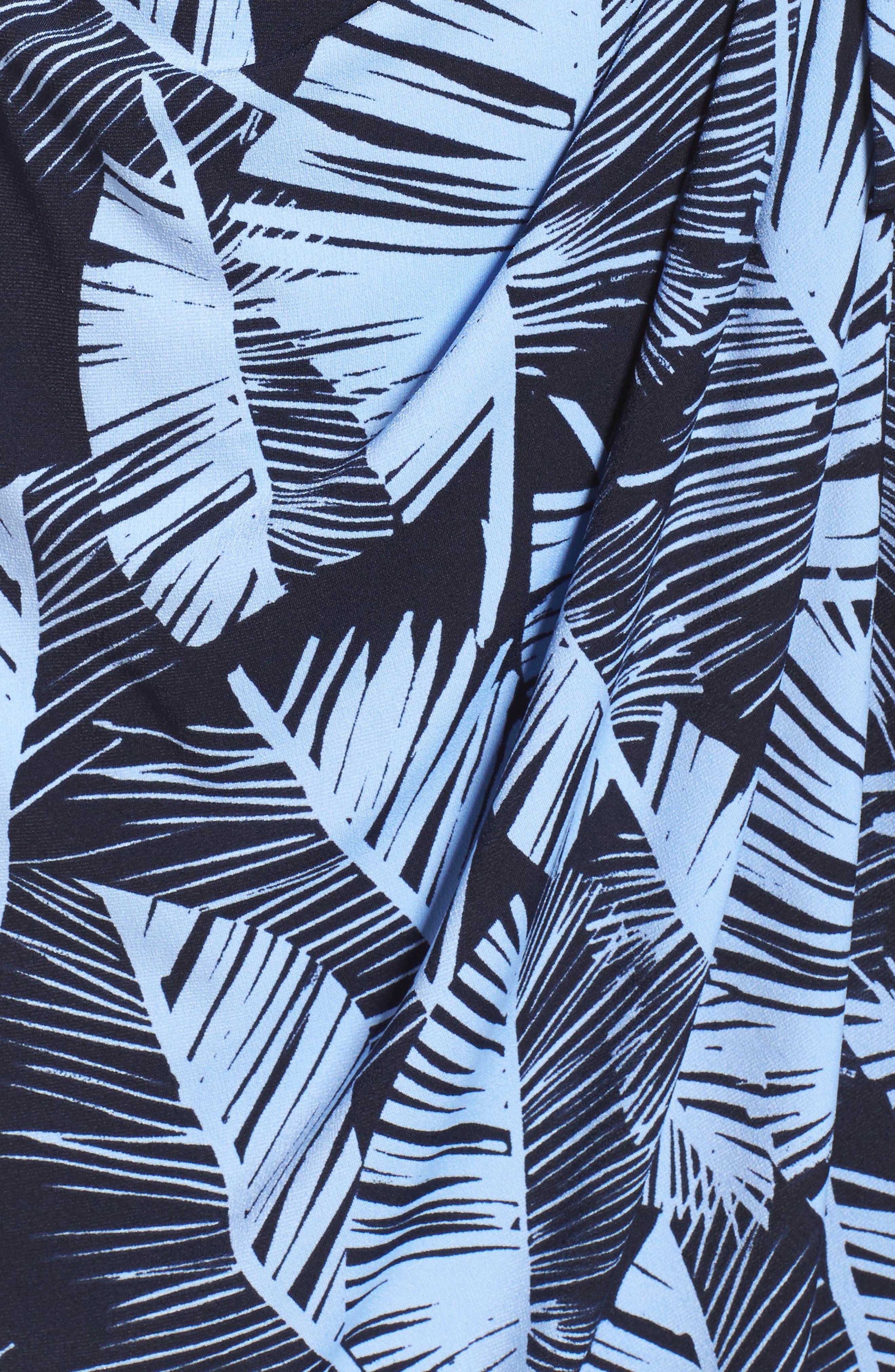 Palm Leaf Wrap Dress,                             Alternate thumbnail 6, color,                             420