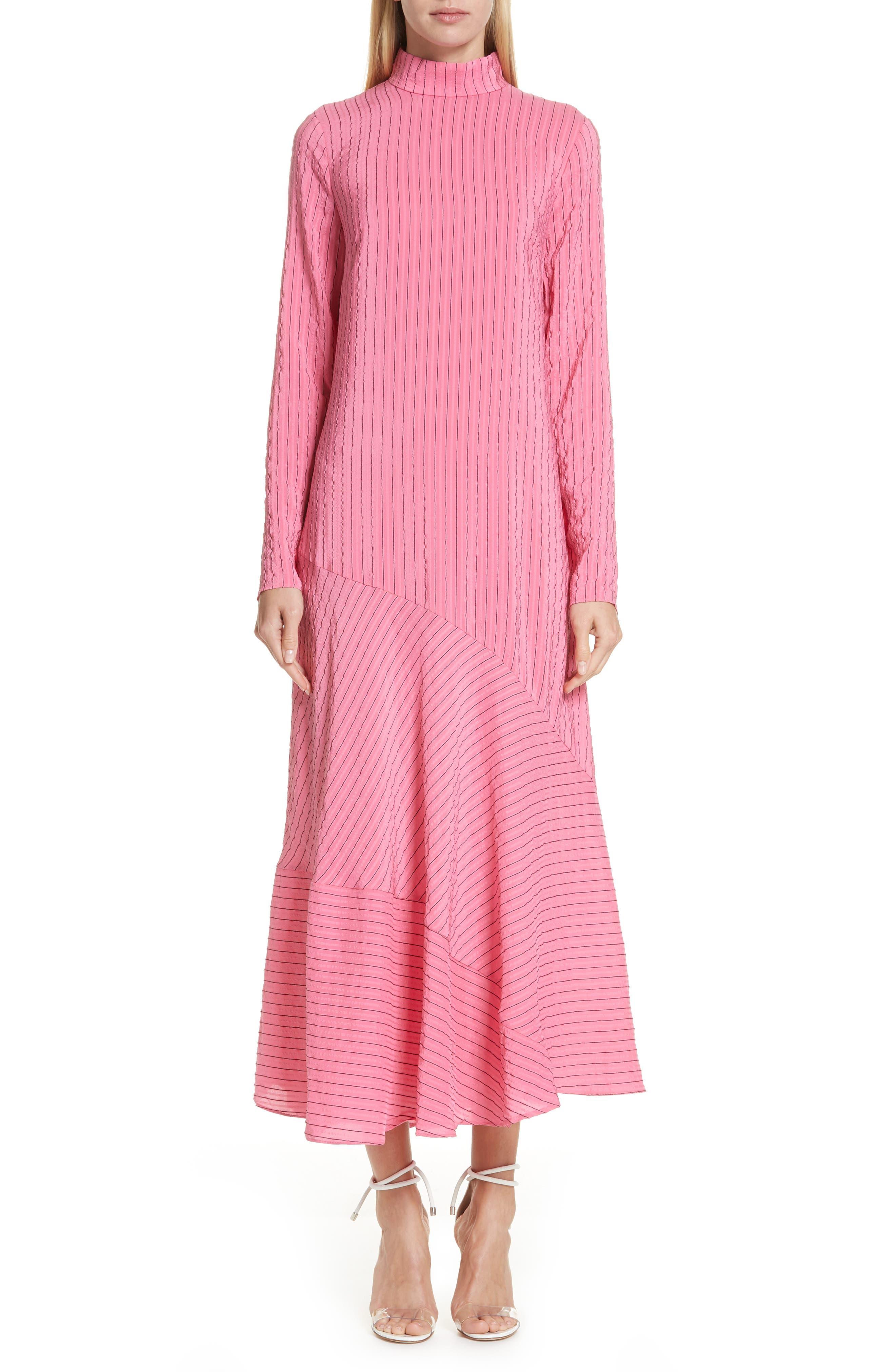 Seersucker Silk Blend Dress,                             Main thumbnail 1, color,                             650