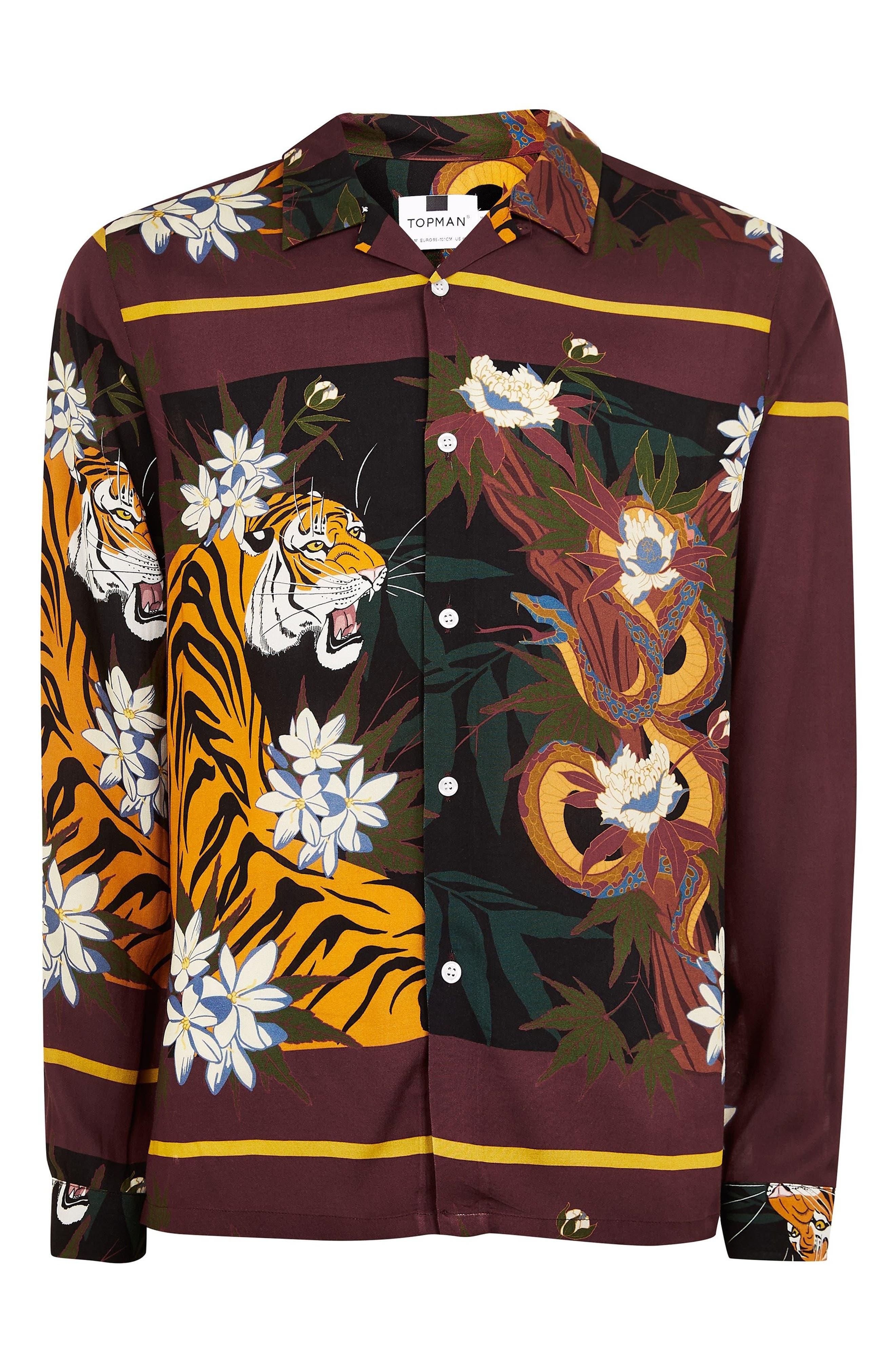 Tiger Snake Print Shirt,                             Alternate thumbnail 3, color,                             BURGUNDY MULTI