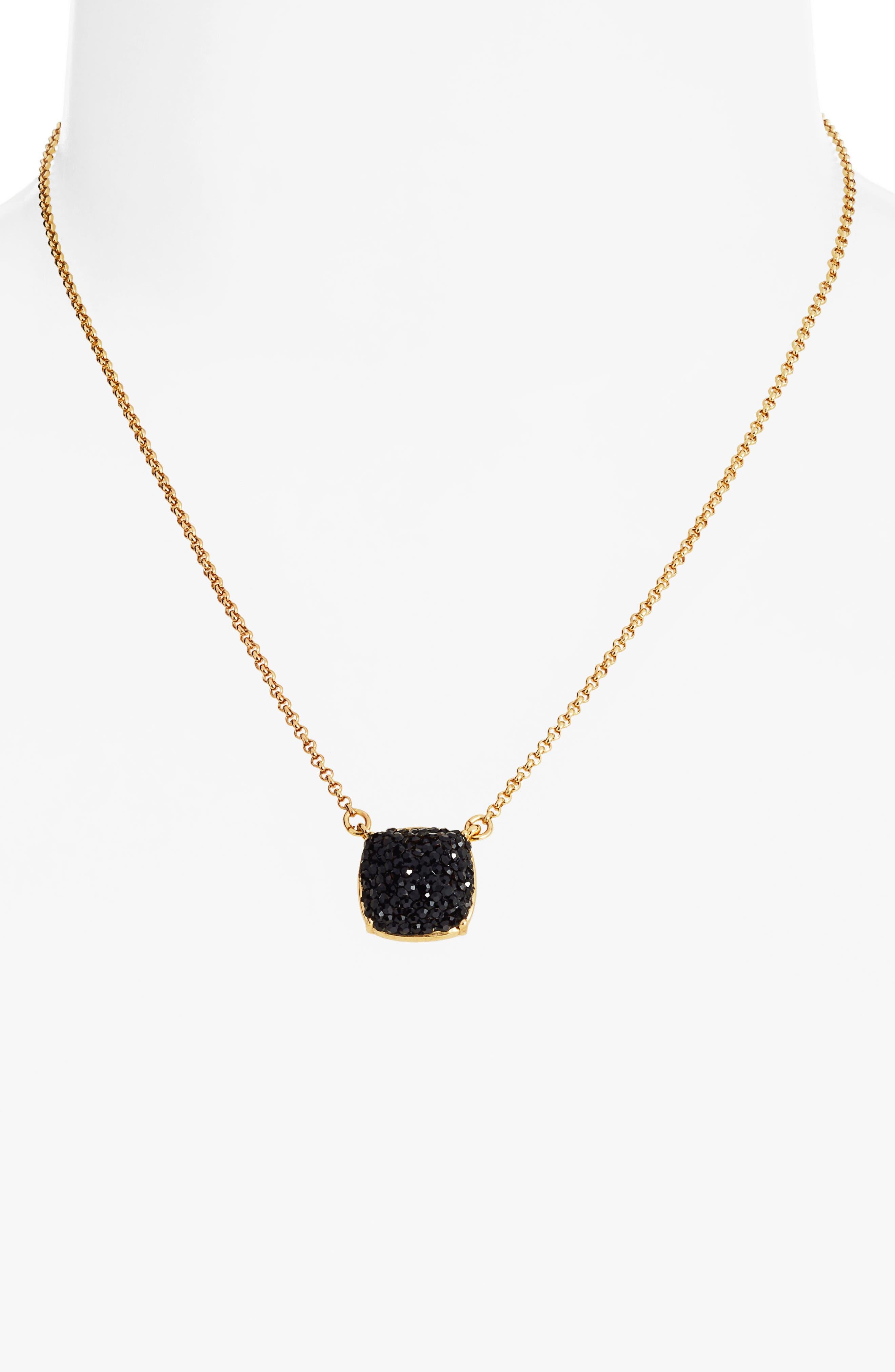 small square pavé pendant necklace,                             Alternate thumbnail 2, color,                             JET