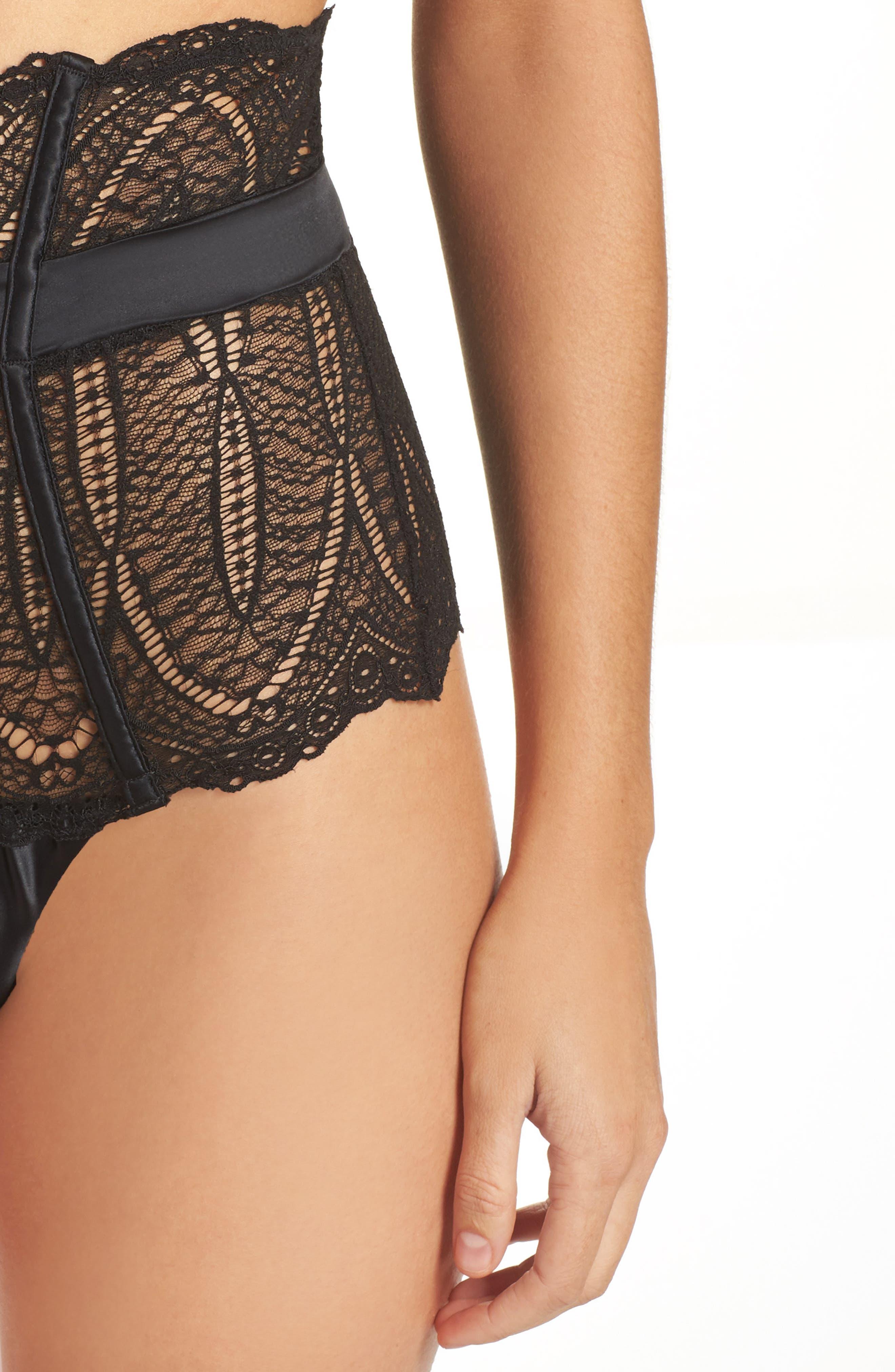 Black Audacious High Waist Lace Thong,                             Alternate thumbnail 4, color,