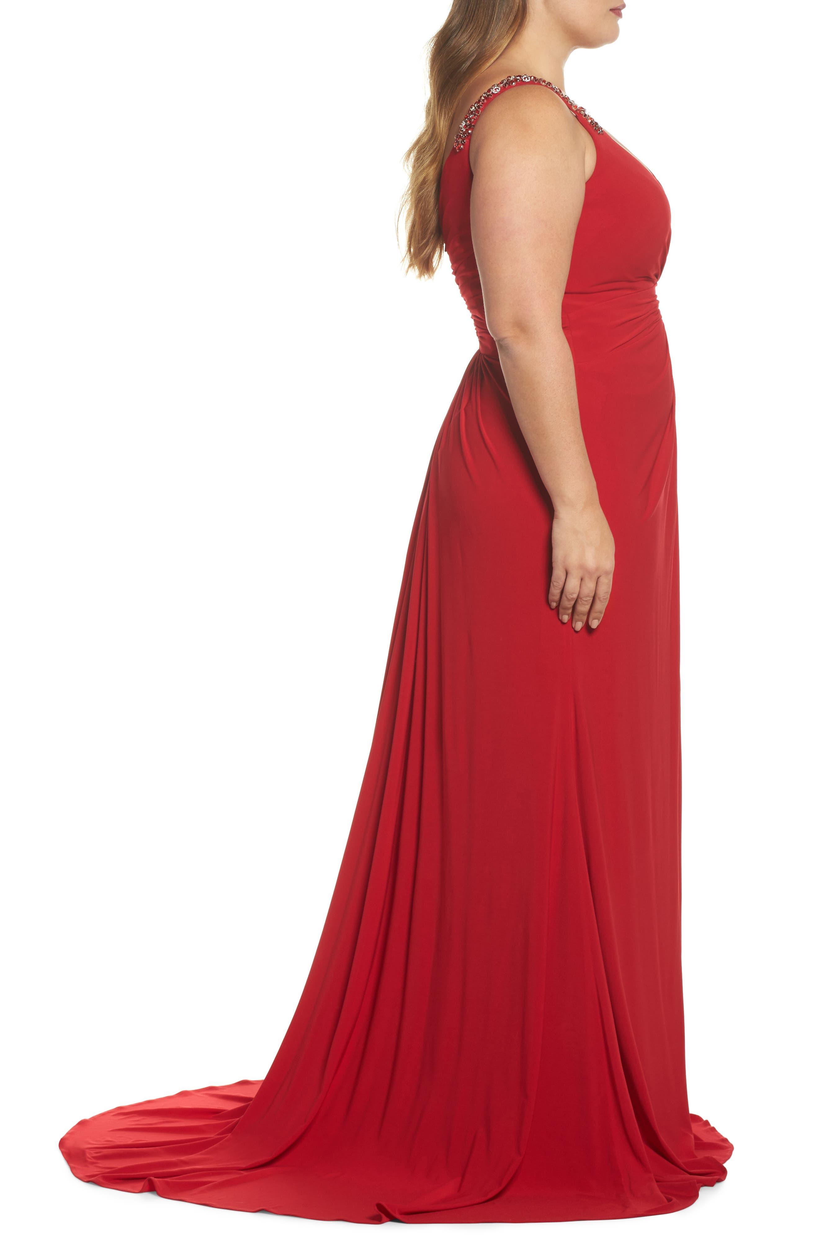 Embellished Shoulder Jersey Gown,                             Alternate thumbnail 6, color,