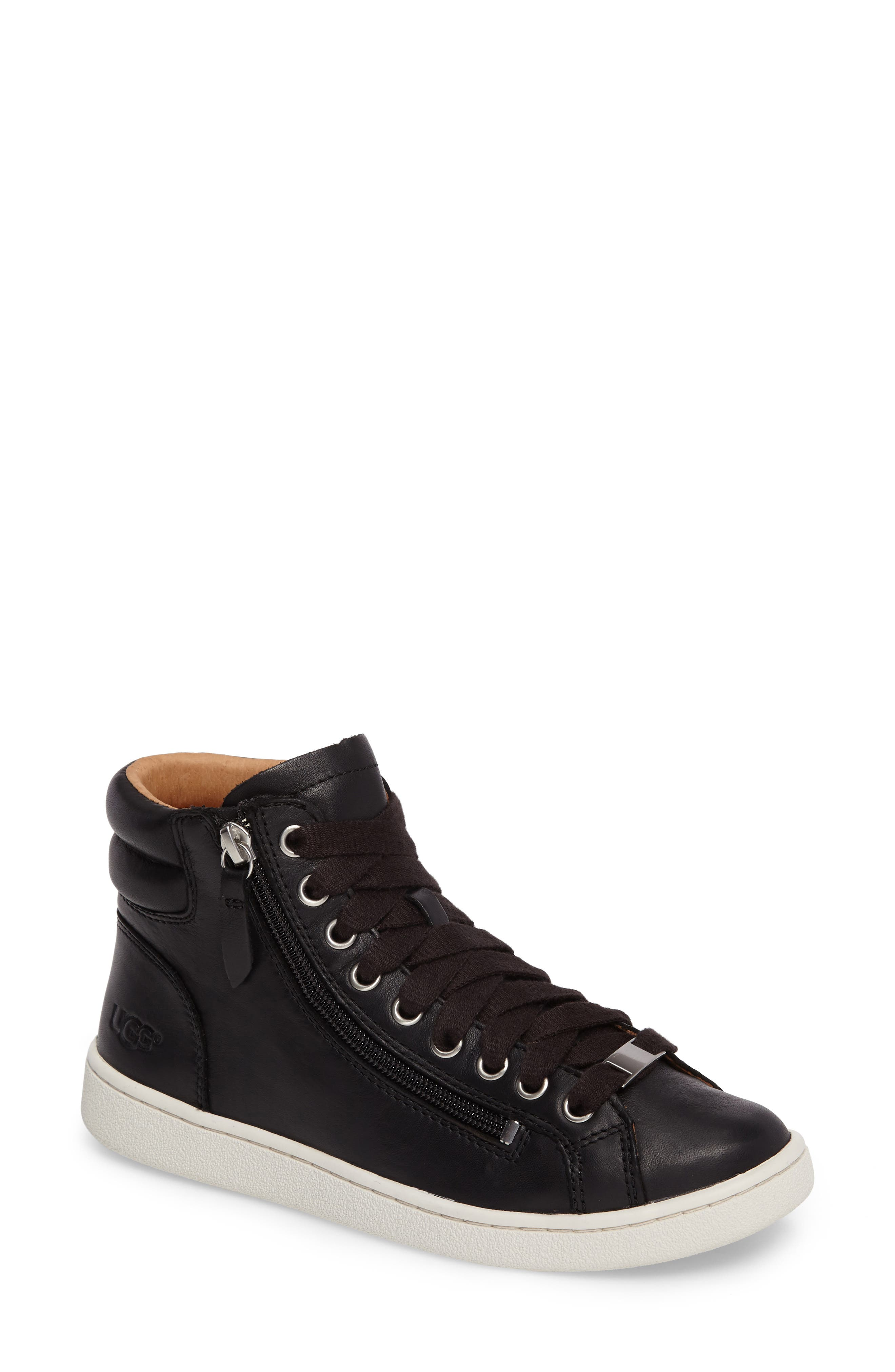 UGG Olive High Top Sneaker,                             Main thumbnail 1, color,                             BLACK LEATHER
