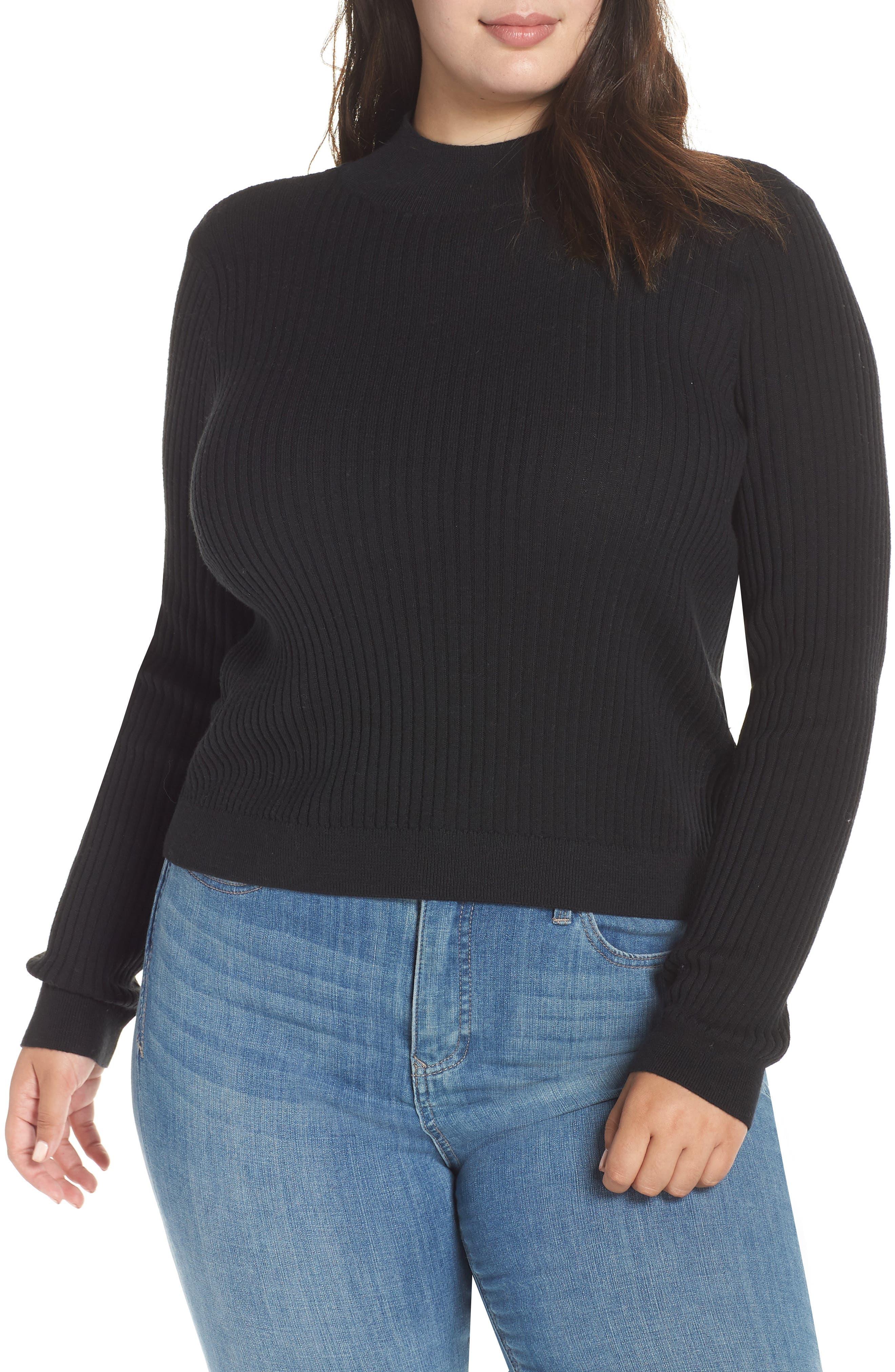 Rib Knit Mock Neck Sweater,                             Main thumbnail 1, color,                             BLACK