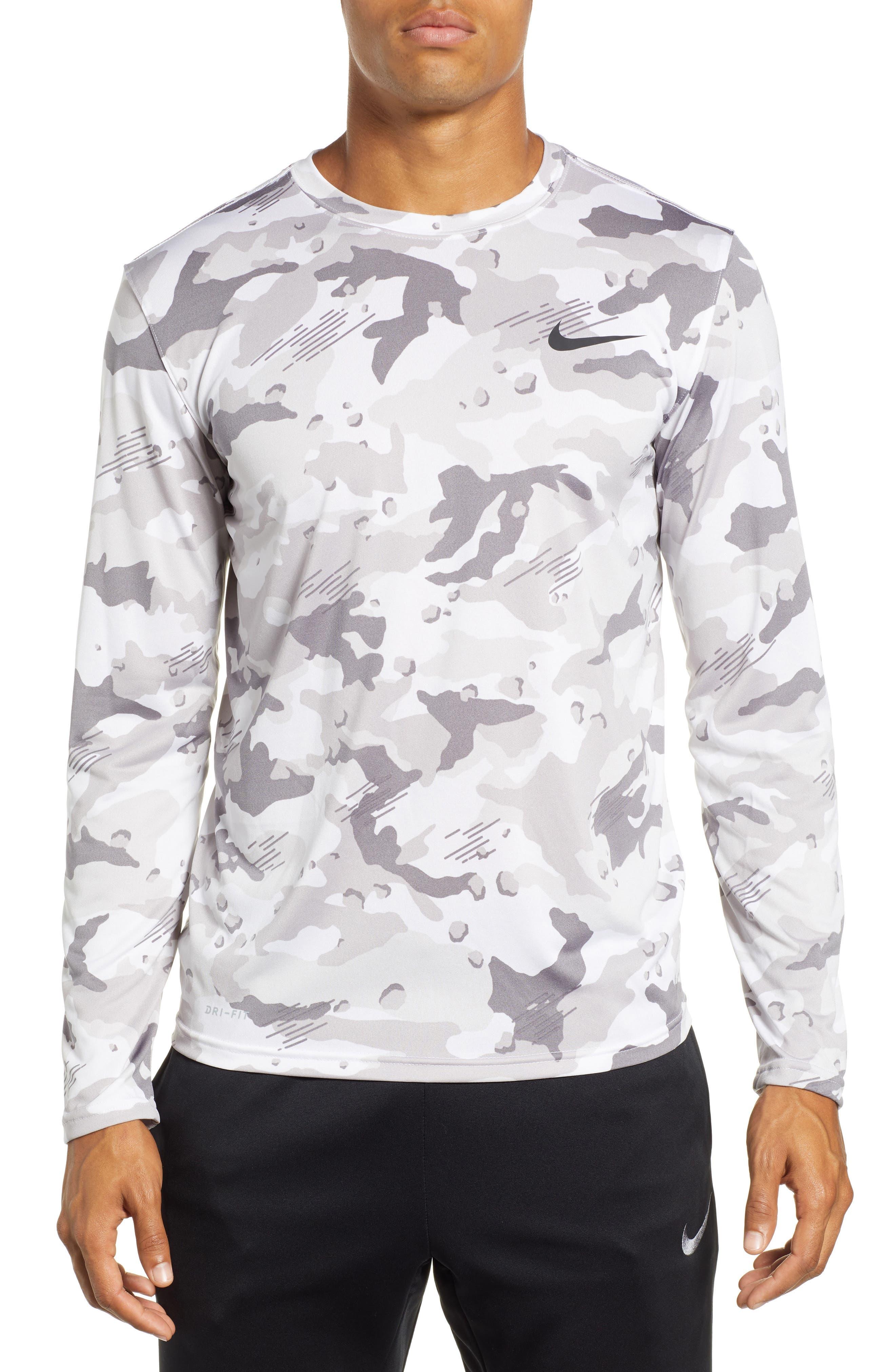 Nike Dry Long Sleeve Camo T-Shirt White