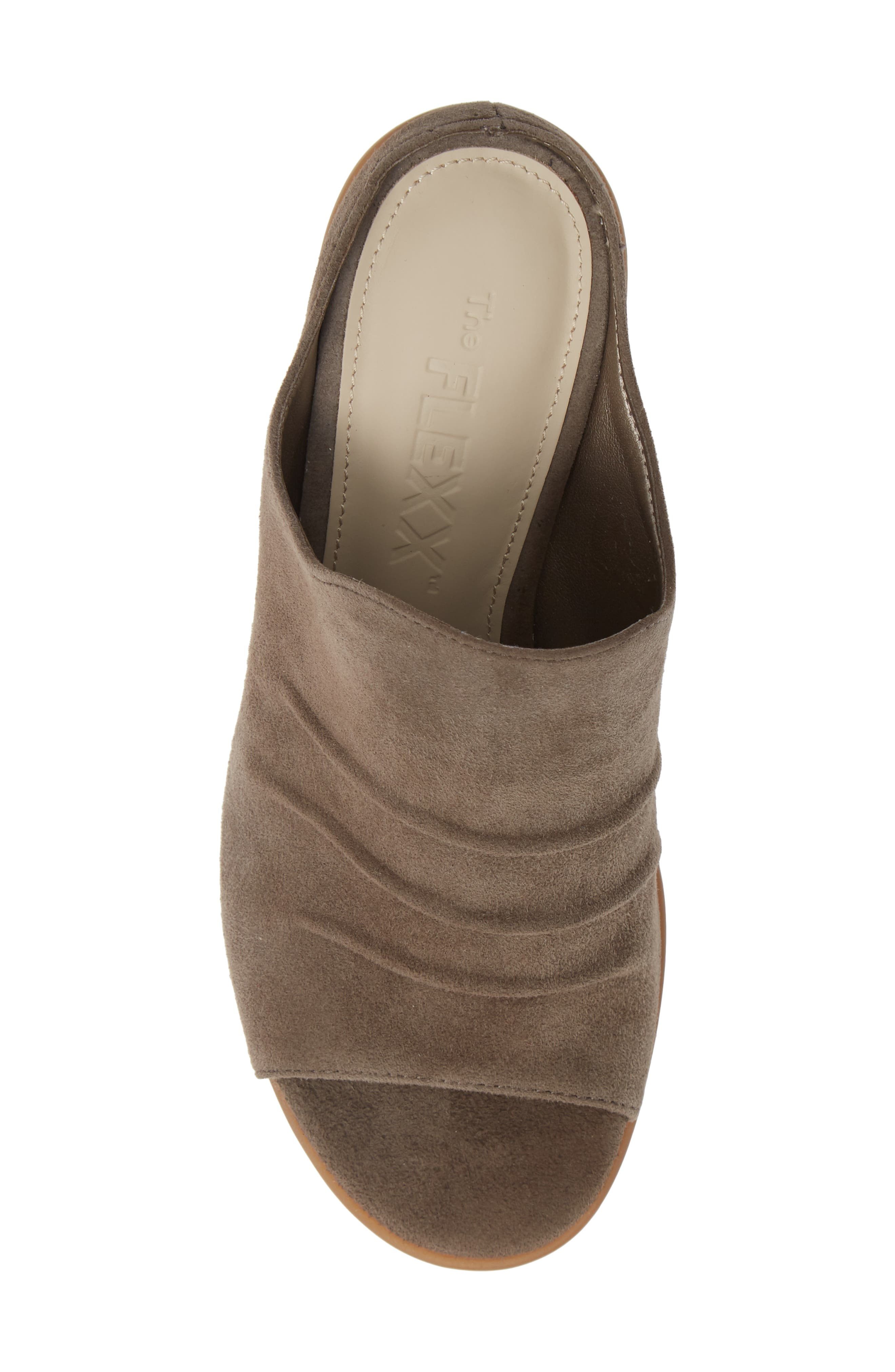Aim to Pleat Mule,                             Alternate thumbnail 5, color,                             BROWN LEATHER