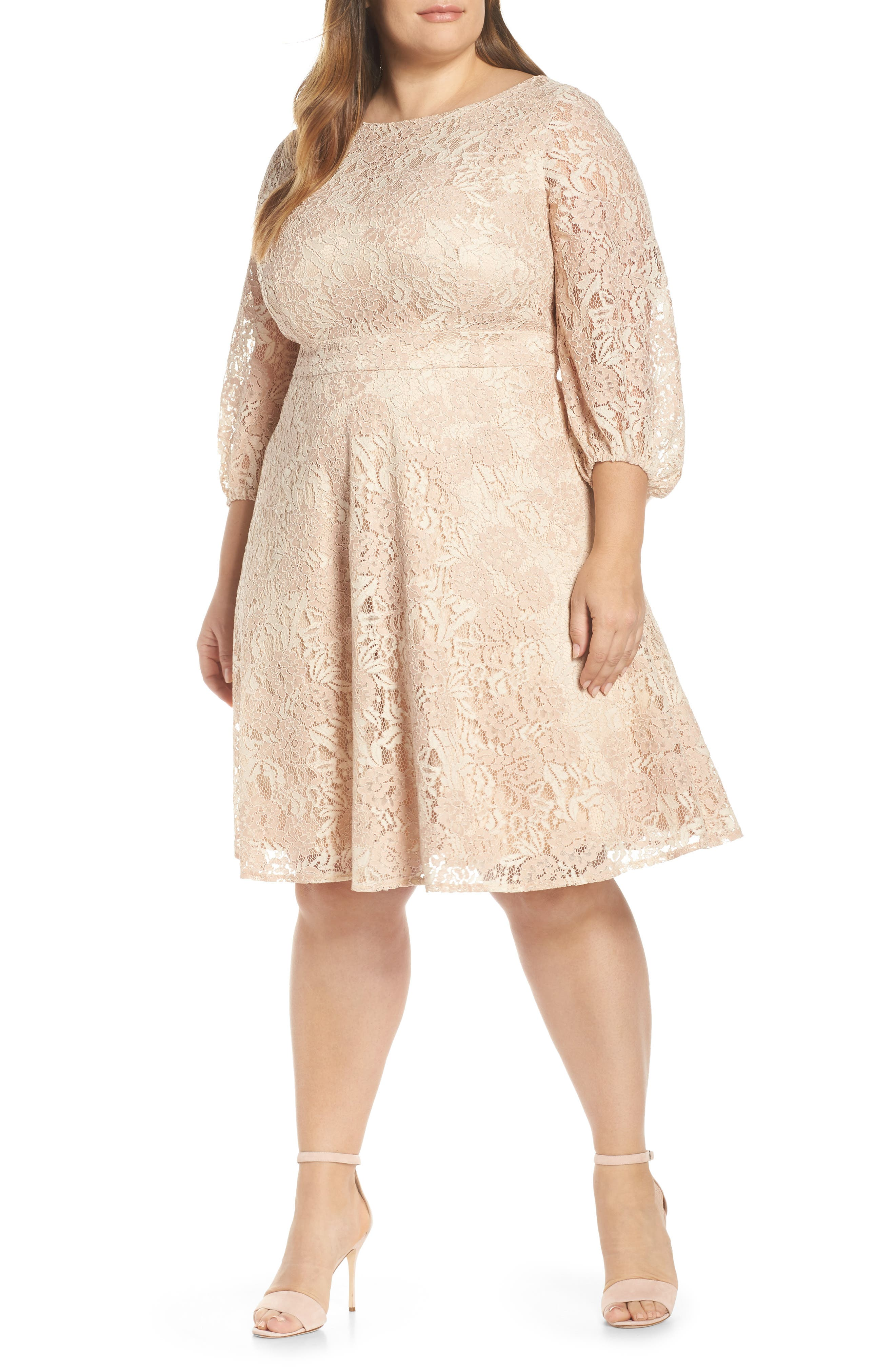 Plus Size Eliza J Boatneck Lace Fit & Flare Dress, Pink