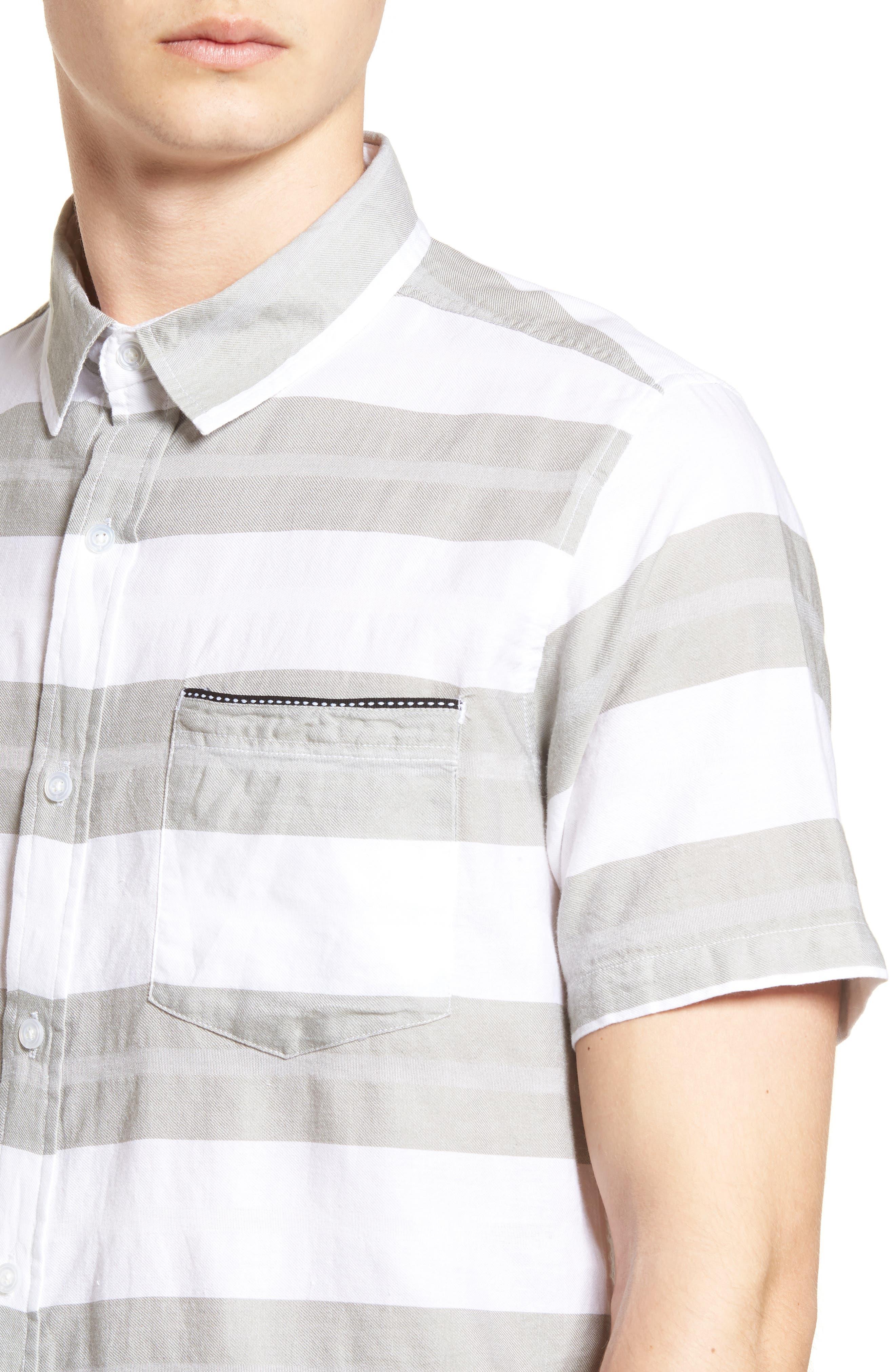Dobson Woven Shirt,                             Alternate thumbnail 4, color,                             WHITE/SMOKE STRIPE
