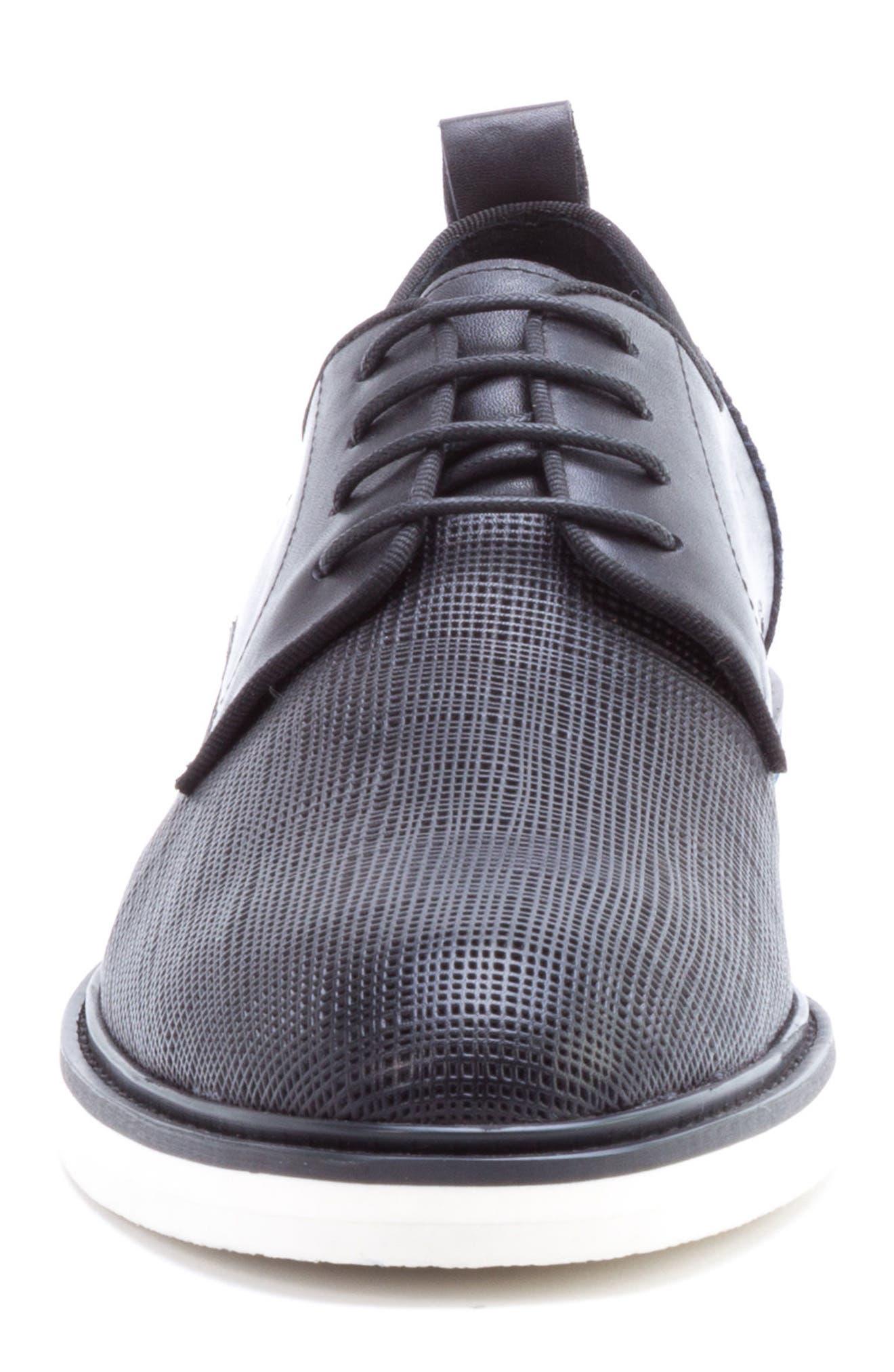 Stem Textured Plain Toe Derby,                             Alternate thumbnail 4, color,                             BLACK LEATHER