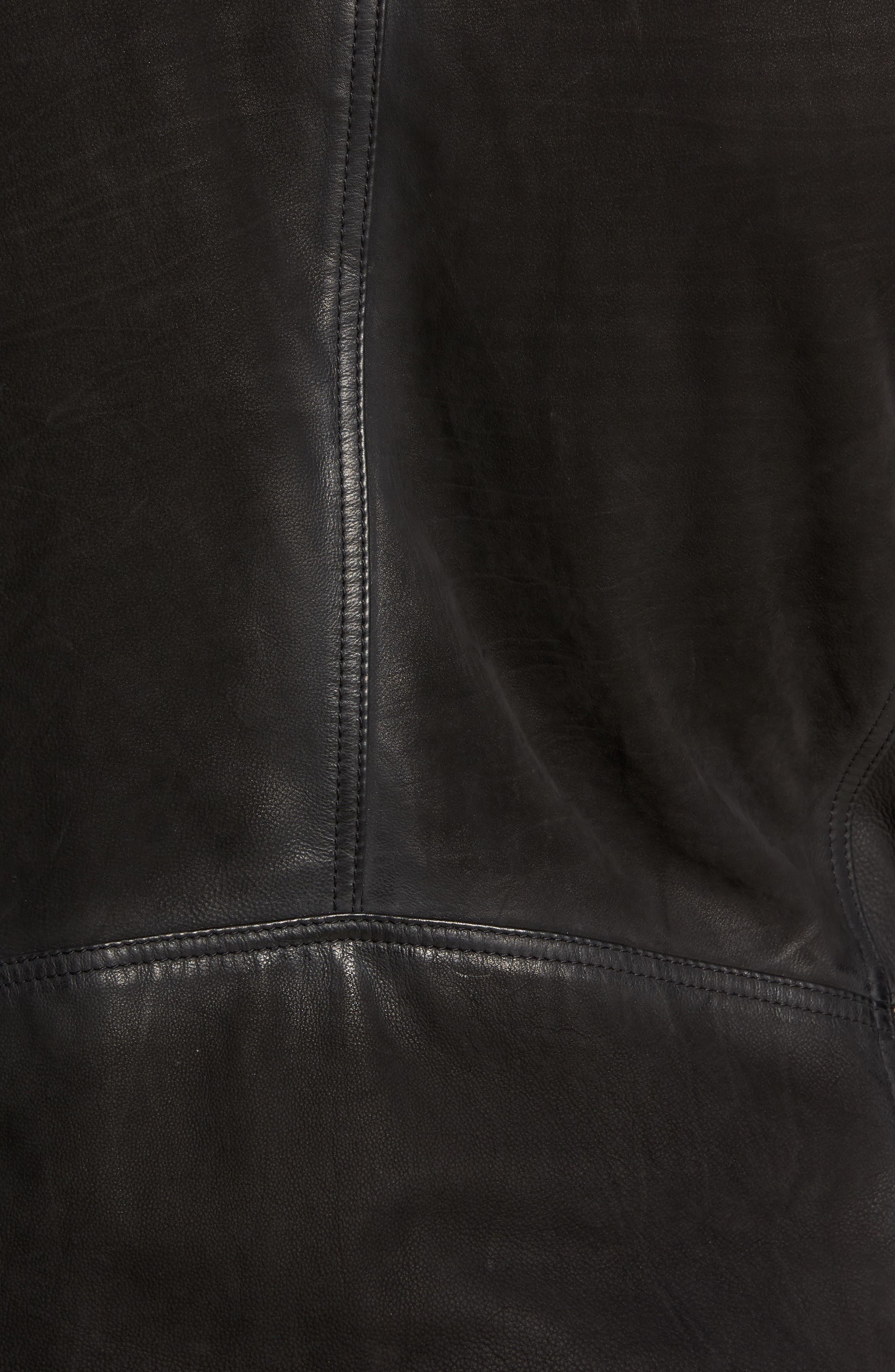 Regular Fit Leather Moto Jacket,                             Alternate thumbnail 6, color,                             BLACK