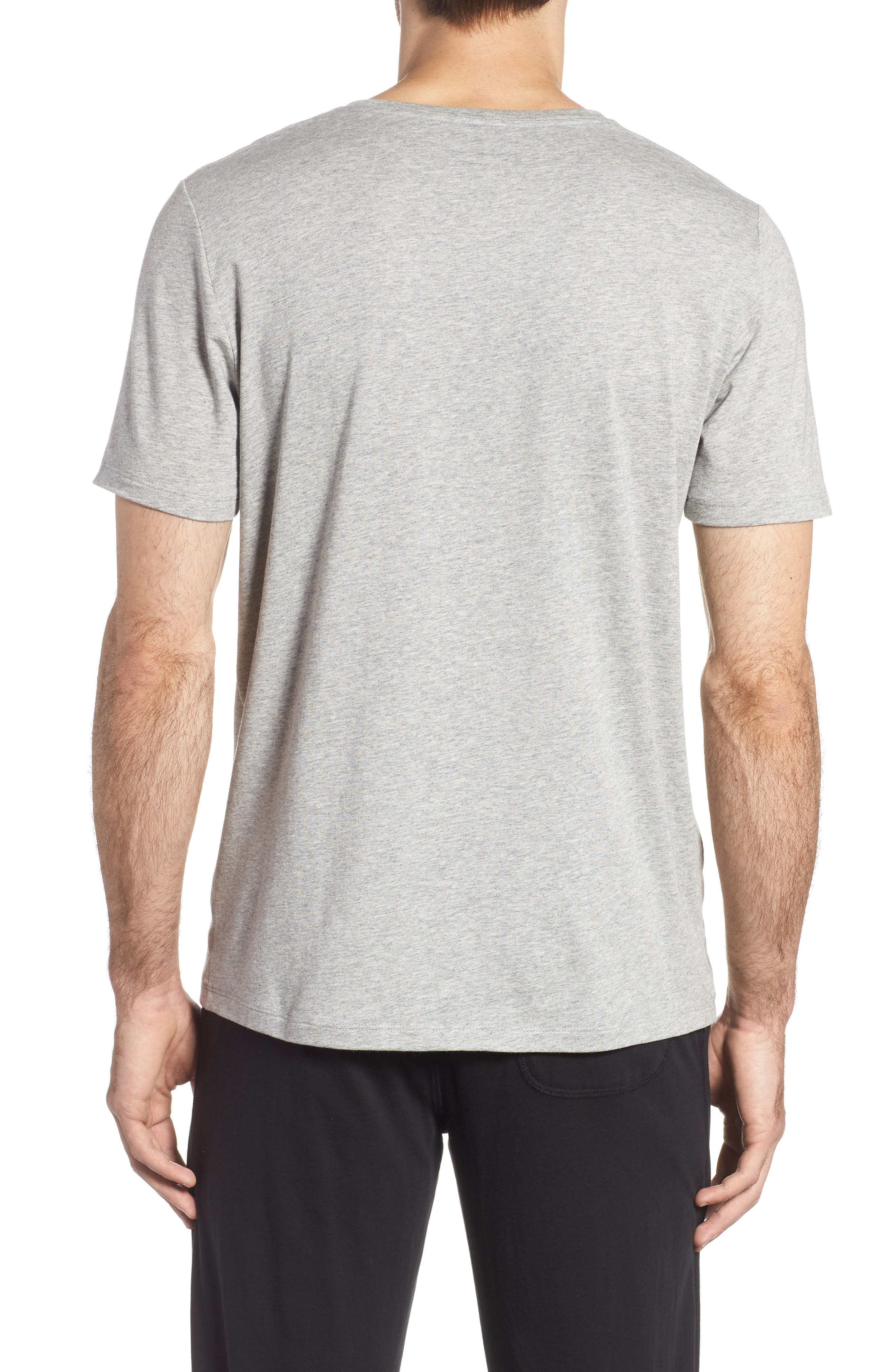 Second Skin V-Neck T-Shirt,                             Alternate thumbnail 2, color,                             HEATHER GREY