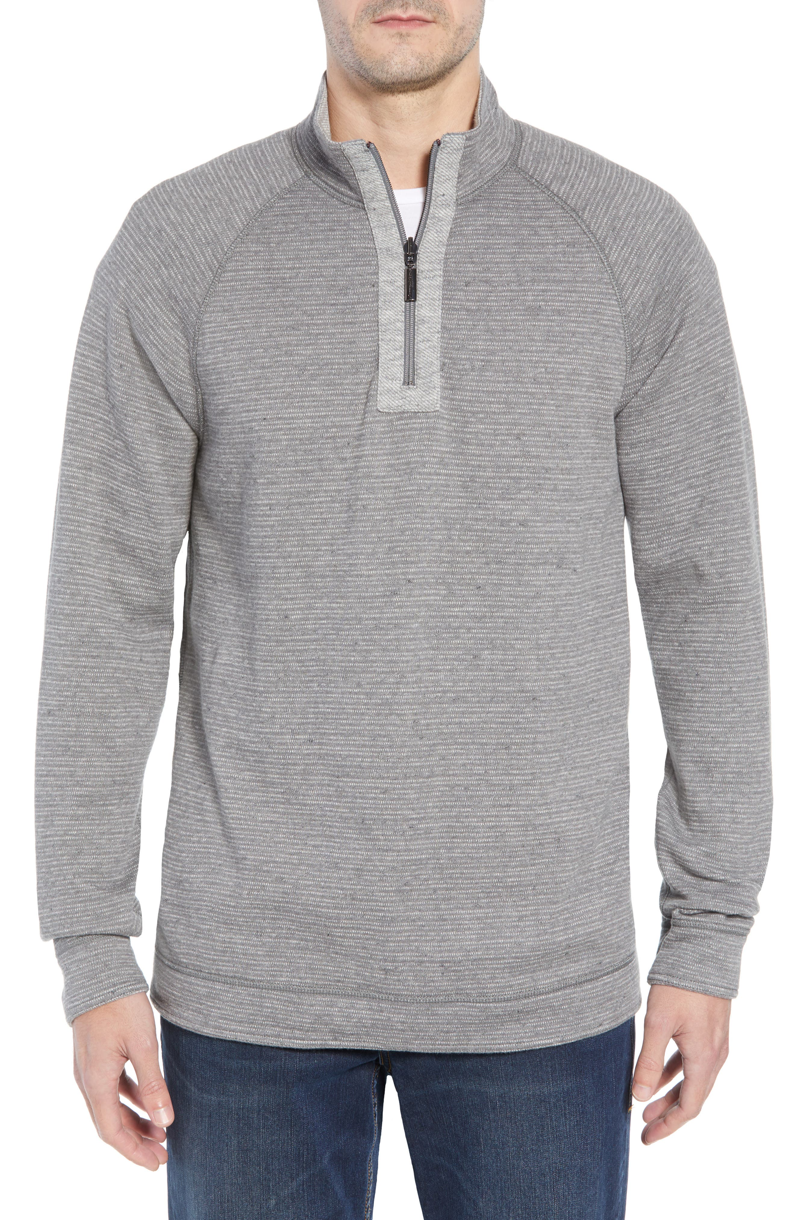 On the Doubles Mock Neck Quarter Zip Pullover,                             Alternate thumbnail 5, color,                             STEEL WOOL HEATHER