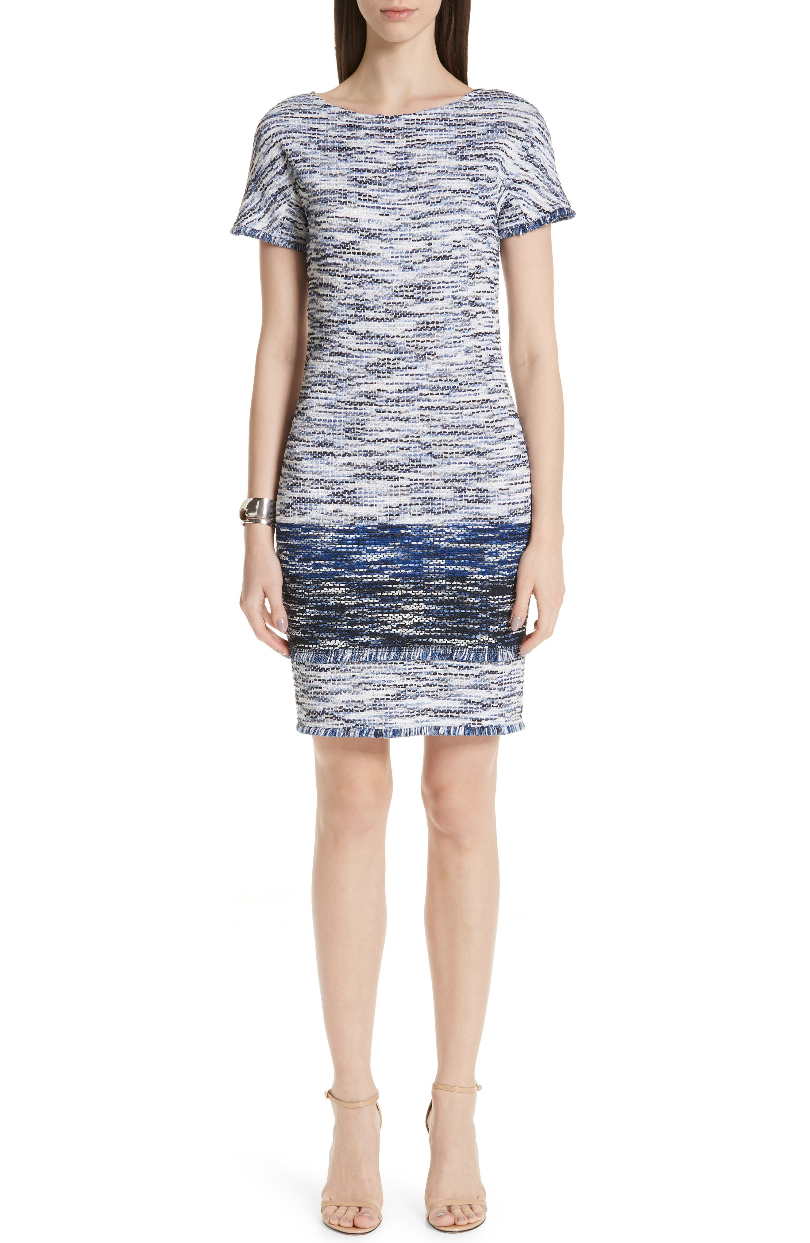 St. John Collection Vertical Fringe Multicolored Tweed Knit Dress, Blue
