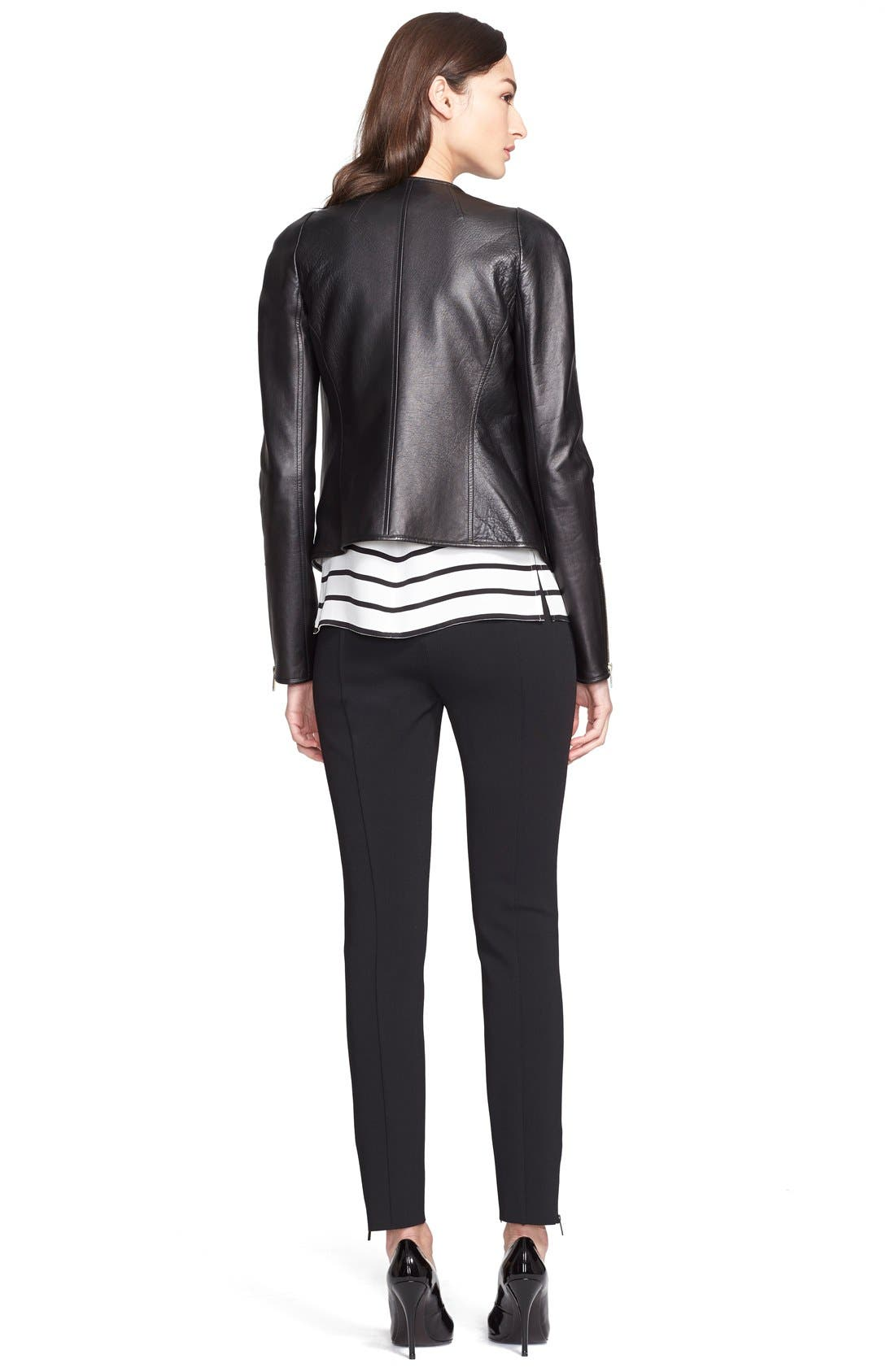 ST. JOHN COLLECTION,                             Nappa Leather Jacket with Stripe Lining,                             Alternate thumbnail 4, color,                             001
