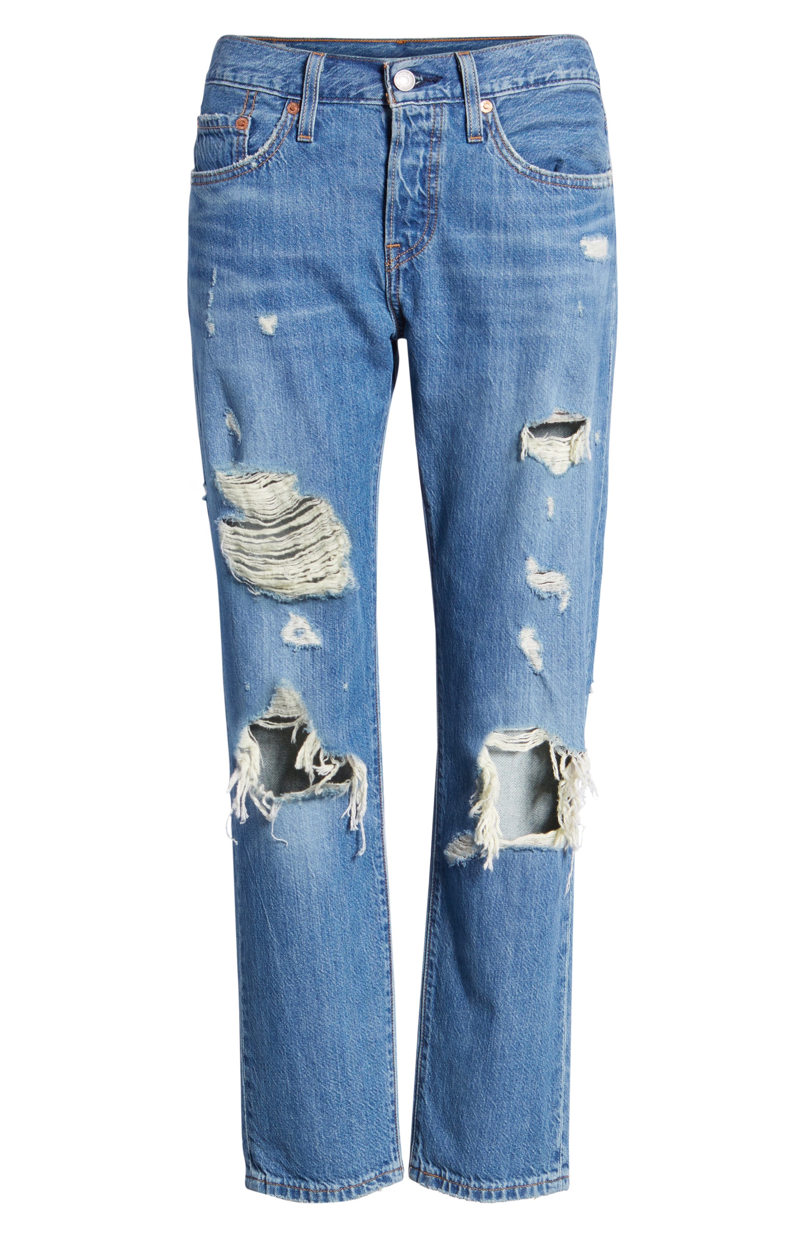 501<sup>™</sup> Taper Ripped Boyfriend Jeans,                             Alternate thumbnail 7, color,                             YOUNG AND RECKLESS