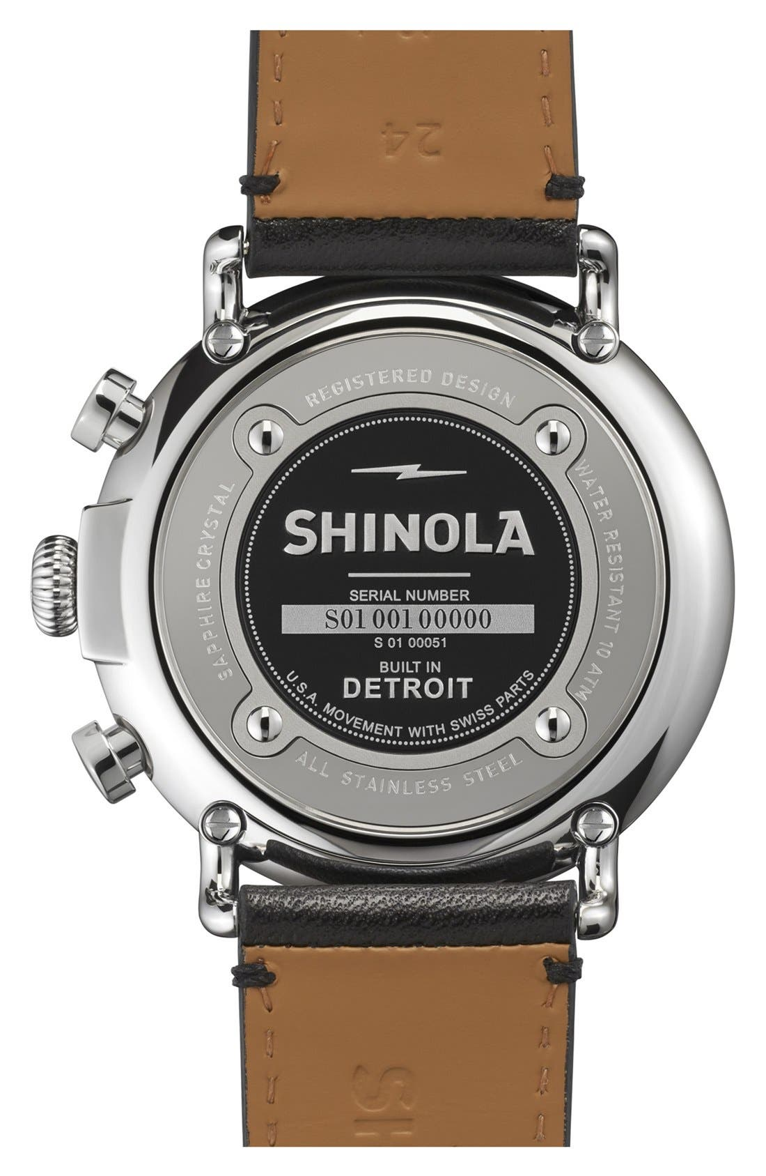 The Runwell Chrono Leather Strap Watch, 47mm,                             Alternate thumbnail 3, color,                             BLACK