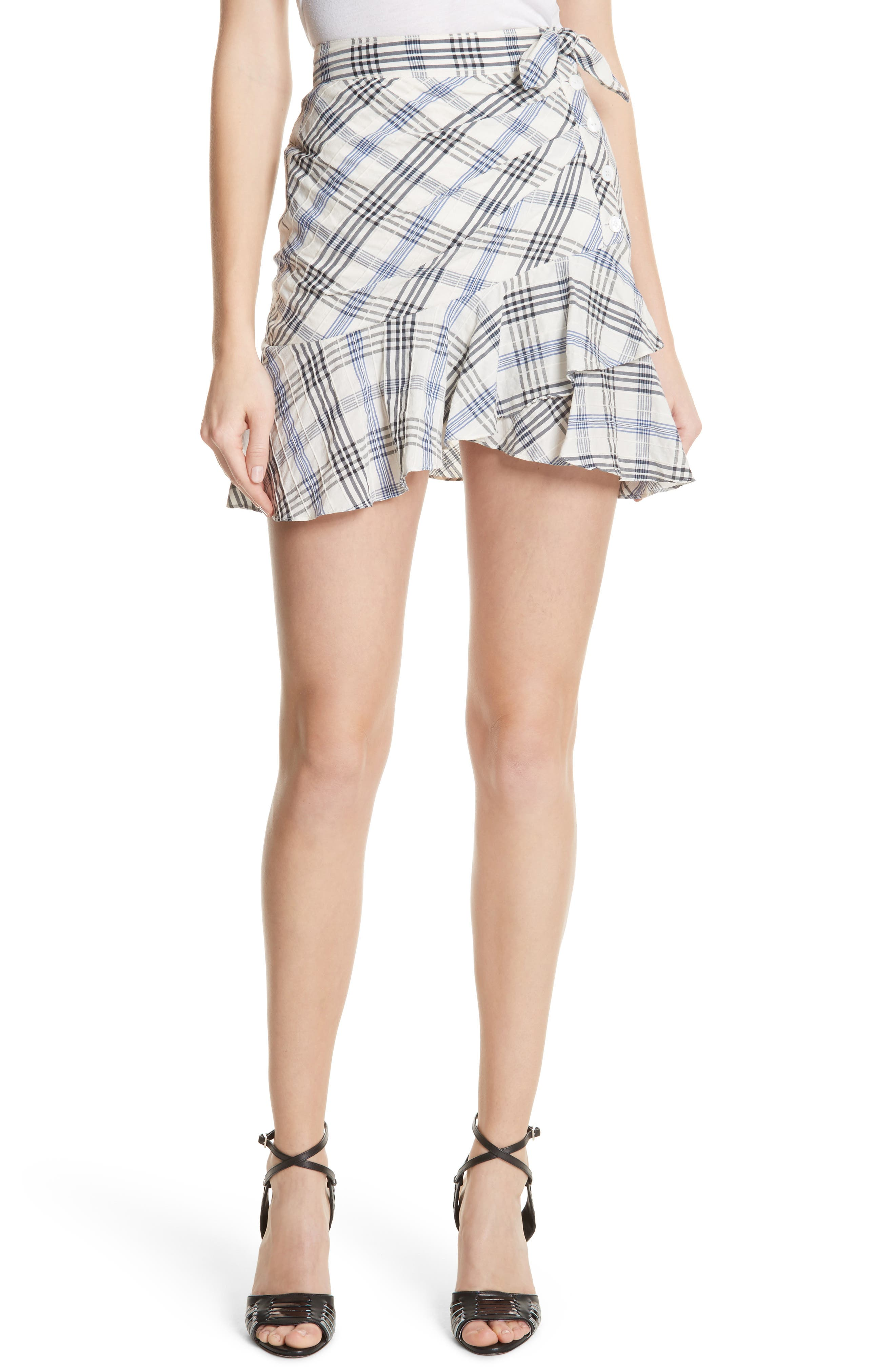 Kaia Check Ruffle Skirt,                         Main,                         color,